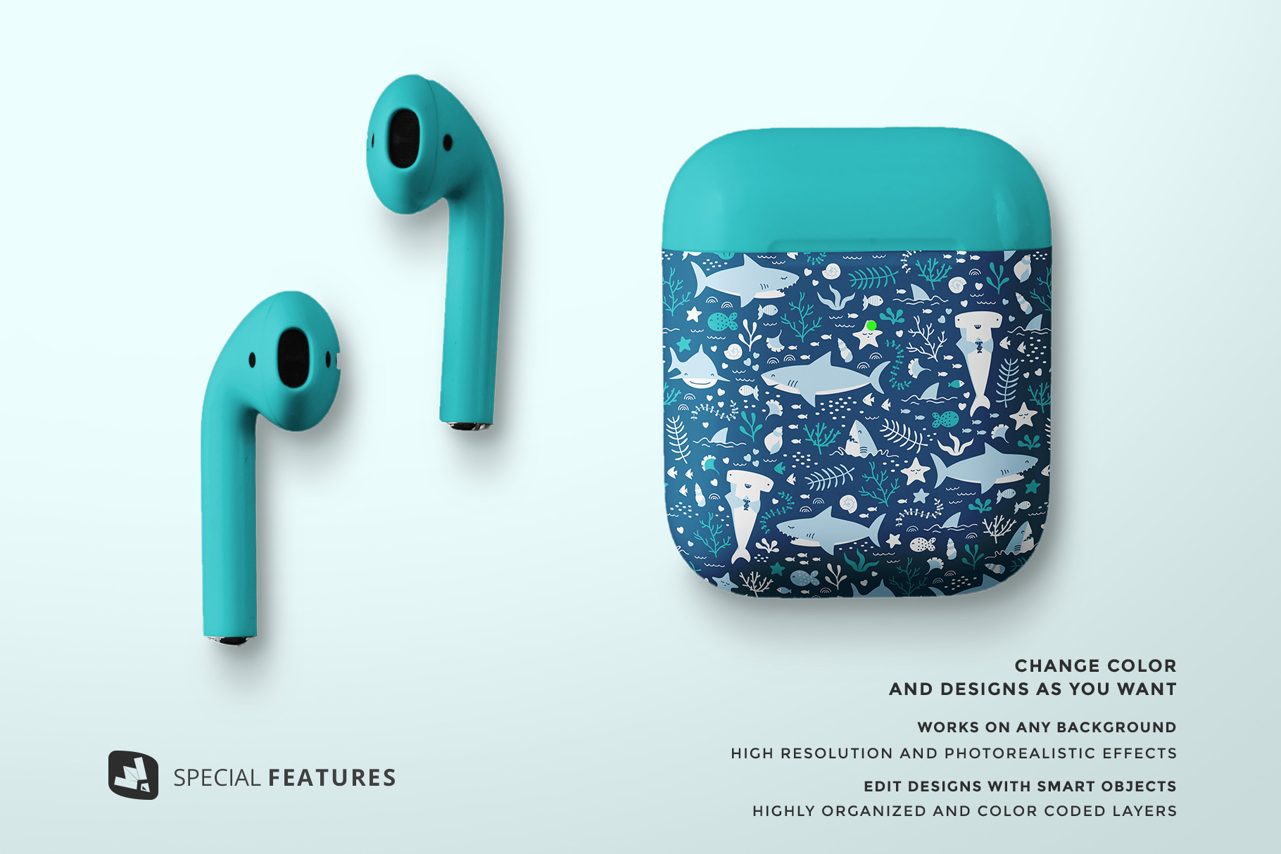 special features of the top view airpod case mockup