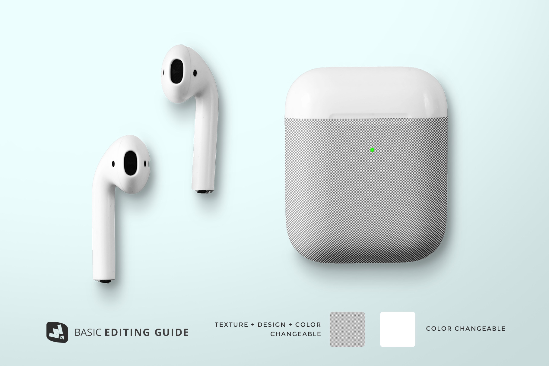 editability of the top view airpod case mockup
