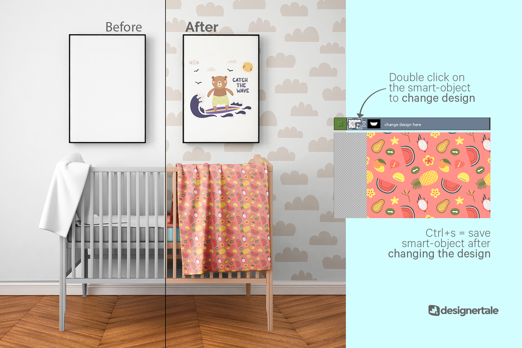 how to change design of the nursery interior mockup