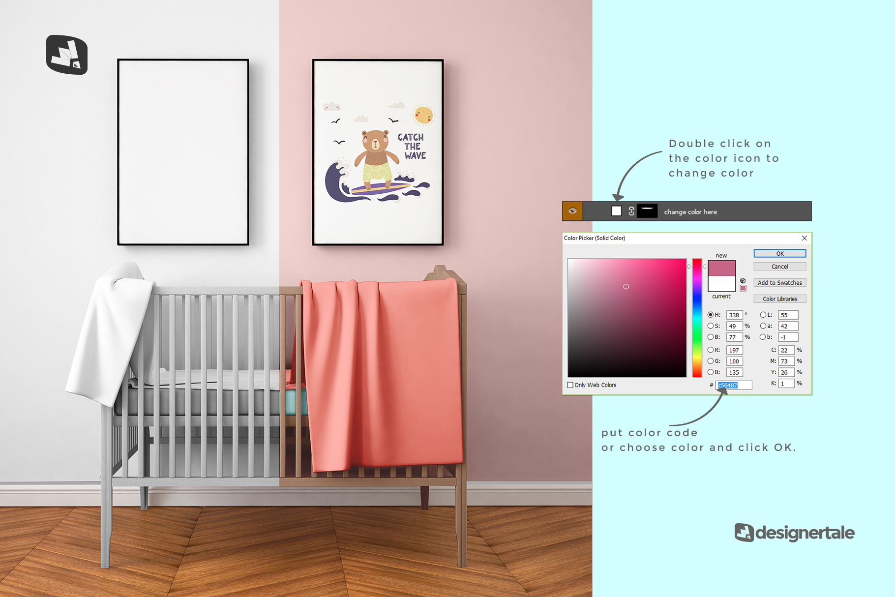 how to change color of the nursery interior mockup
