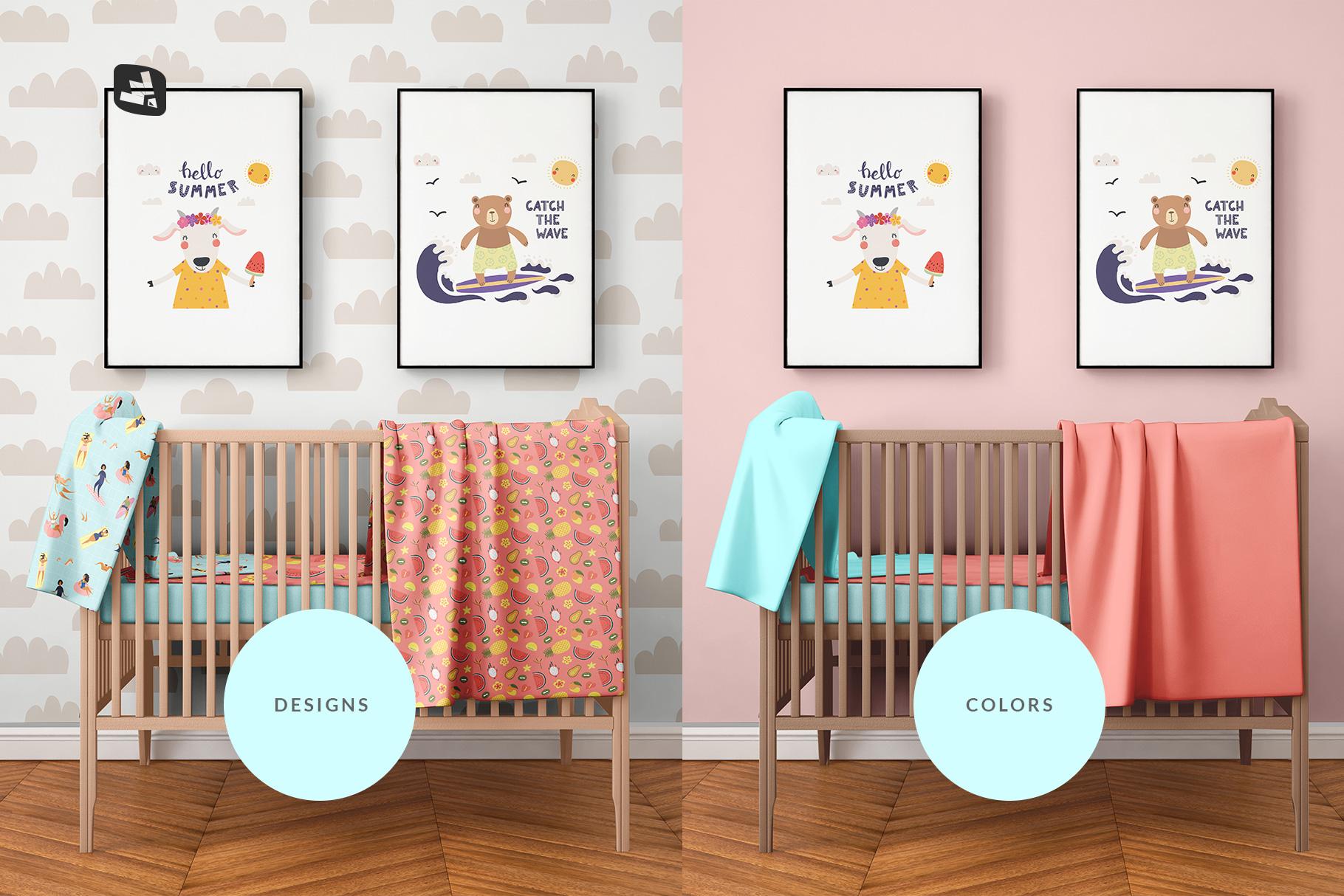 types of the nursery interior mockup