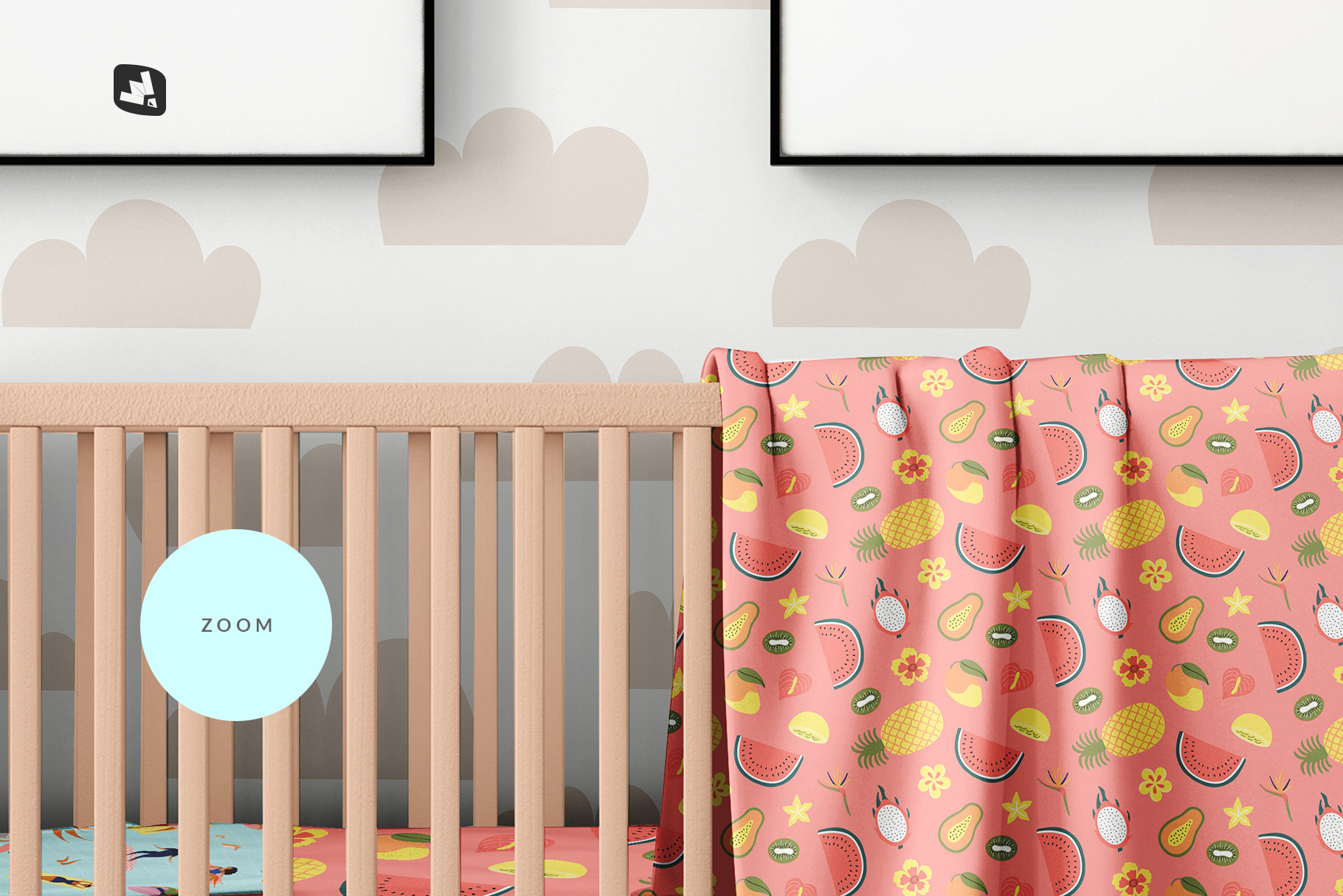 zoomed in image of the nursery interior mockup