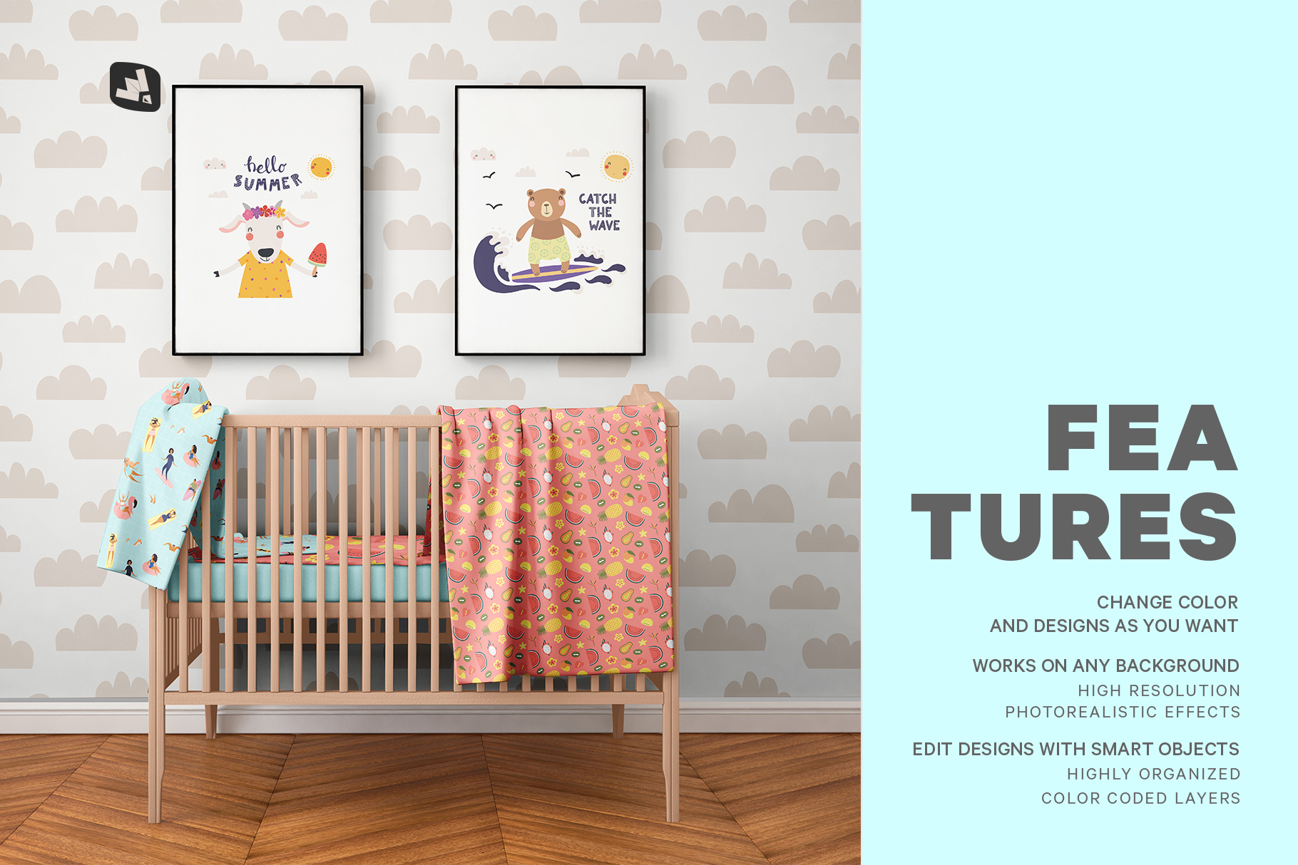 features of the nursery interior mockup