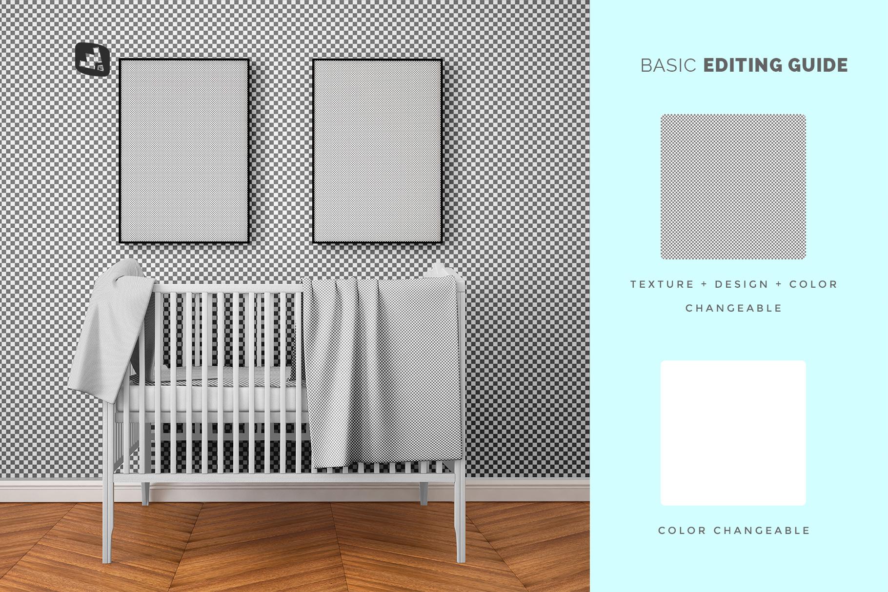 editability of the nursery interior mockup