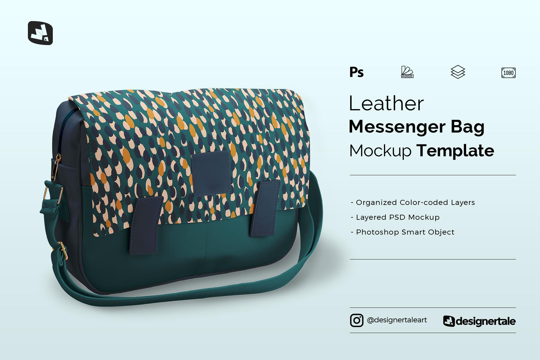 leather messenger bag mockup