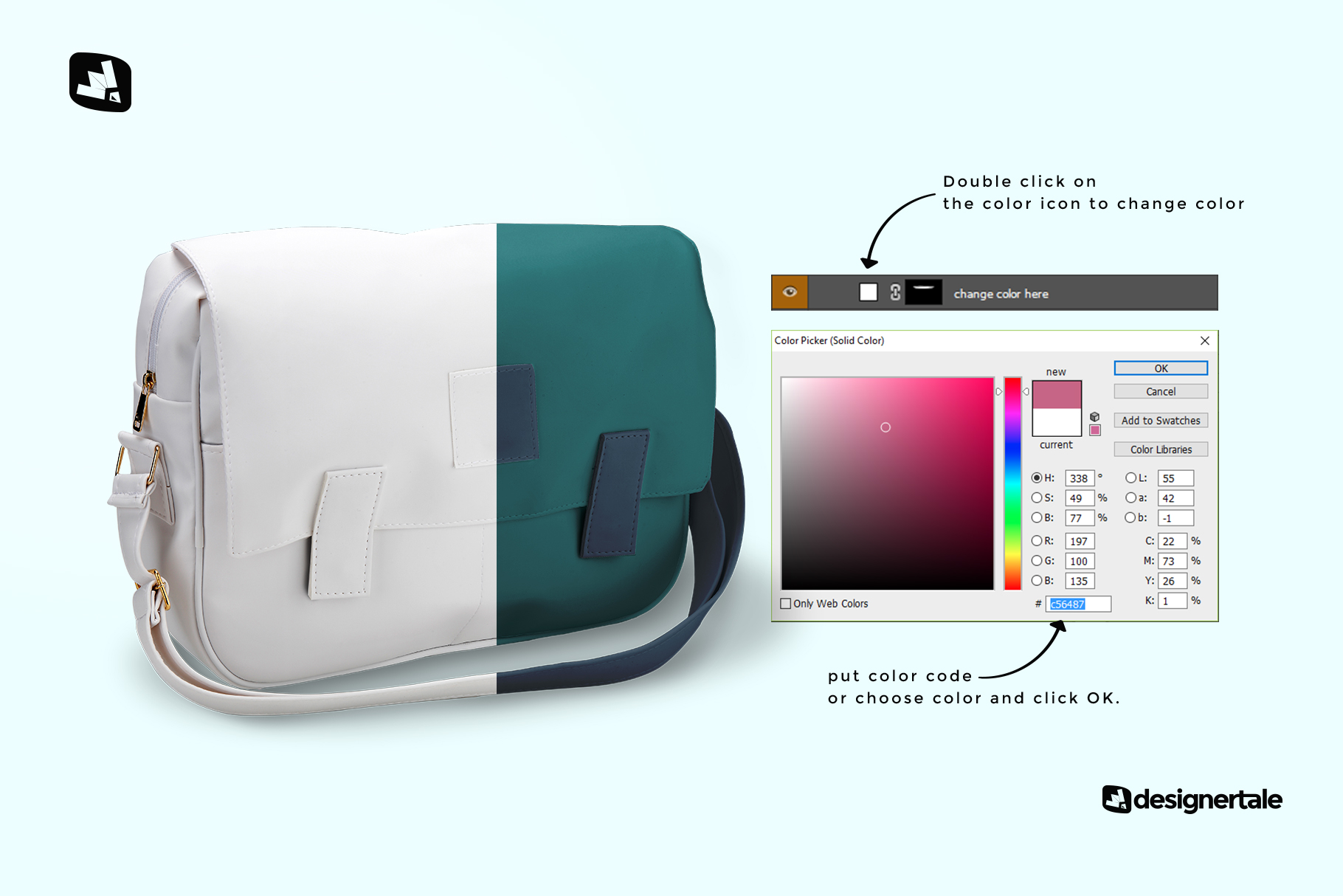 how to change color of the leather messenger bag mockup