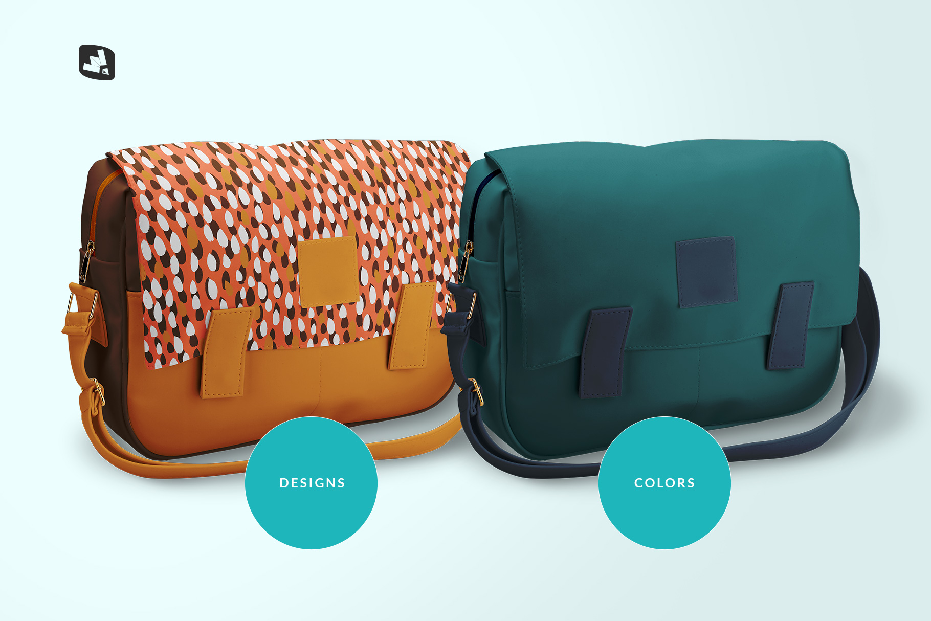types of the leather messenger bag mockup