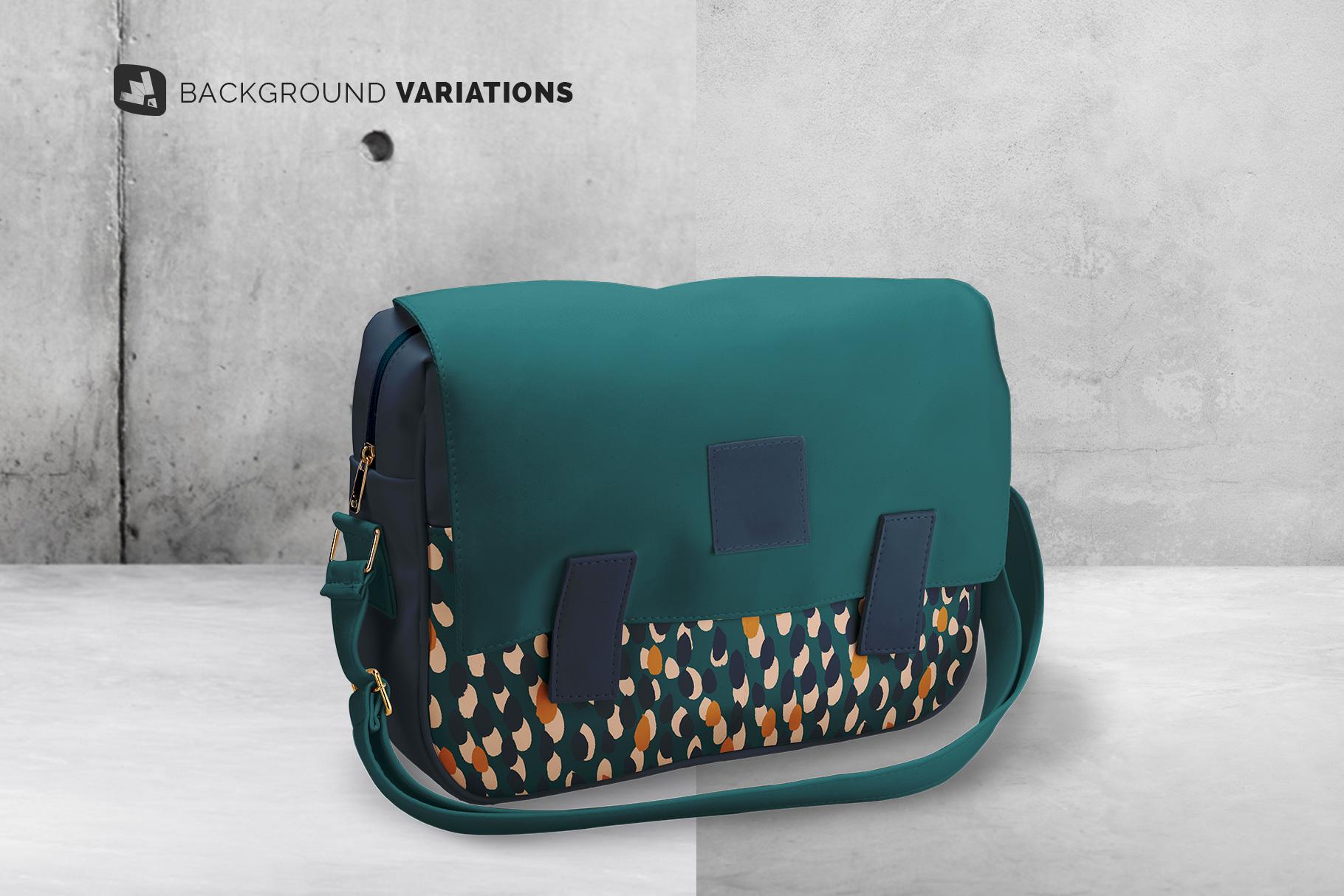 background options of the leather messenger bag mockup