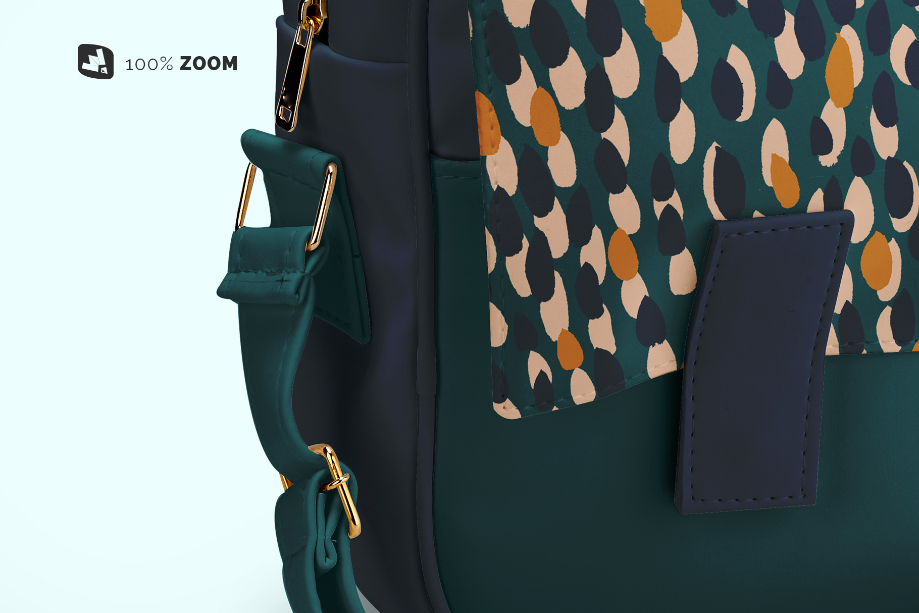zoomed in image of the leather messenger bag mockup