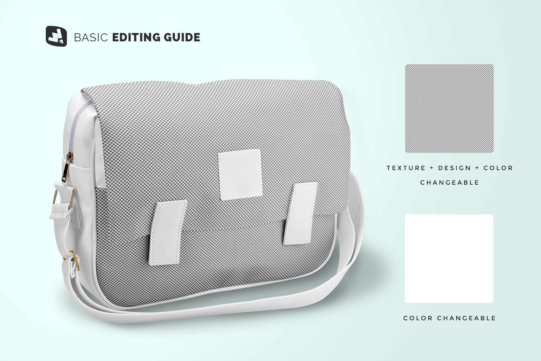 editability of the leather messenger bag mockup