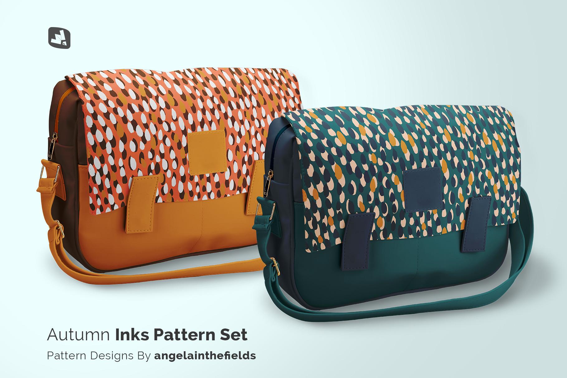 designer's credit of the leather messenger bag mockup