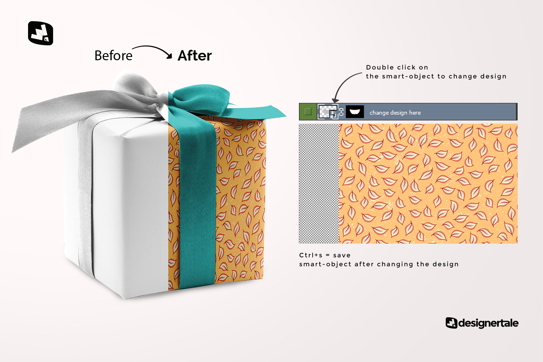 how to change design of the wrapping paper mockup with box