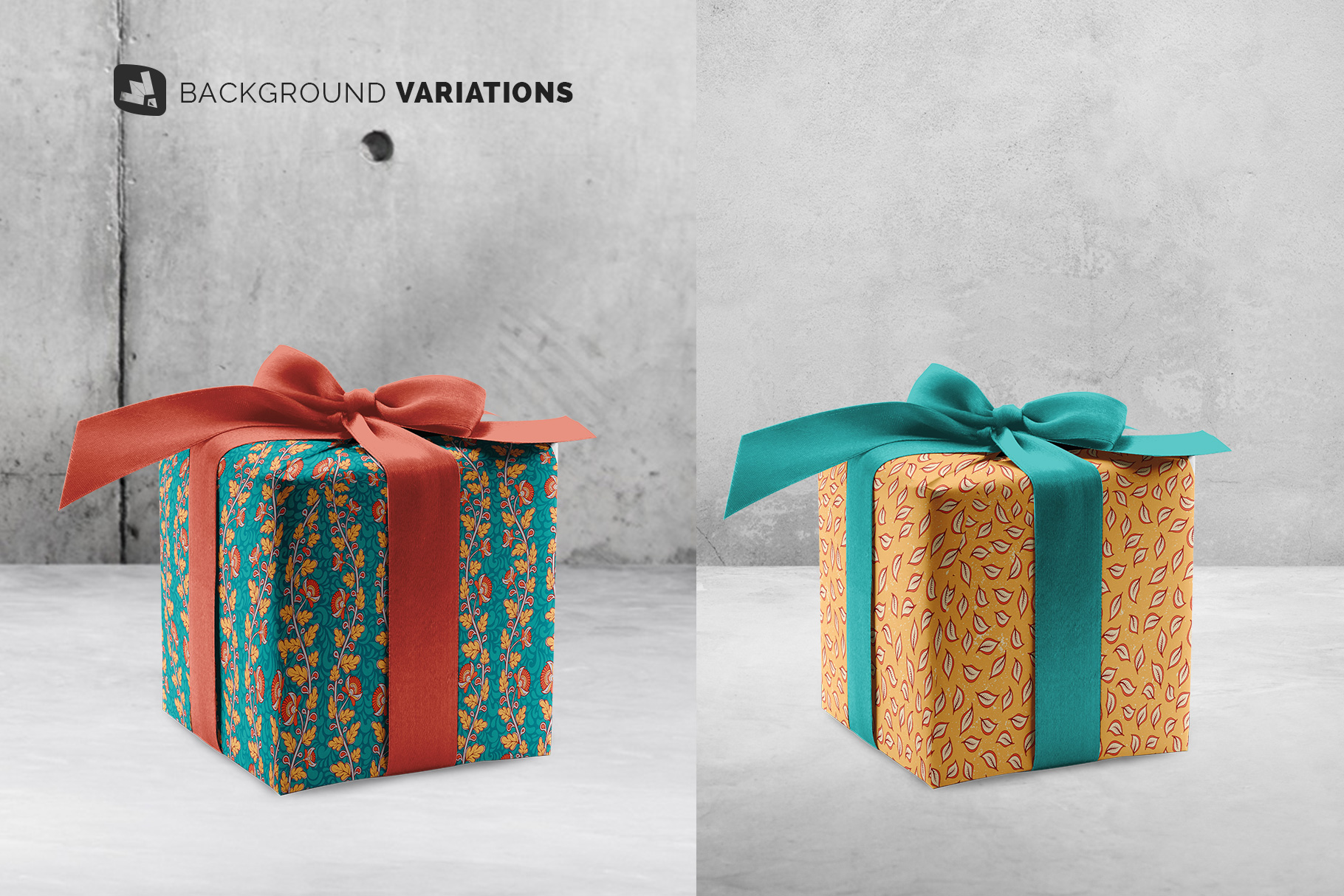 background options of the wrapping paper mockup with box