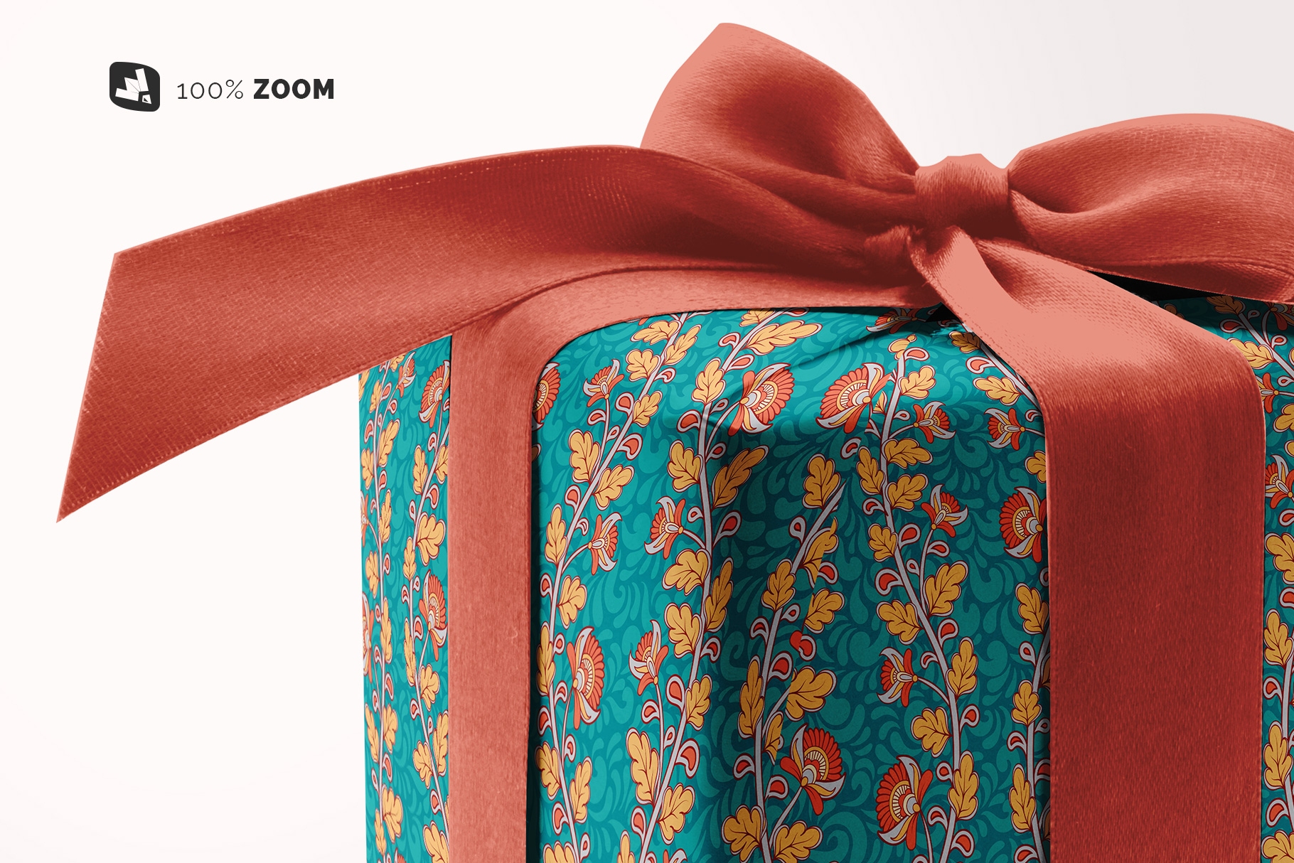 zoomed in image of the wrapping paper mockup with box