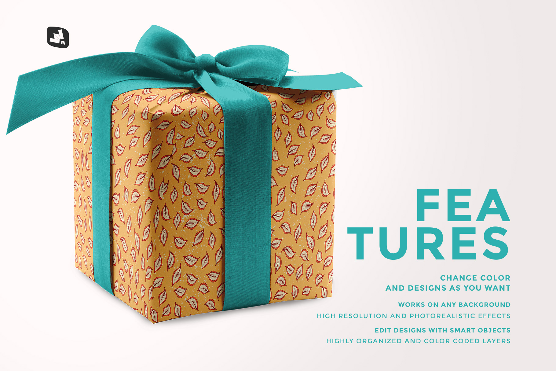 features of the wrapping paper mockup with box