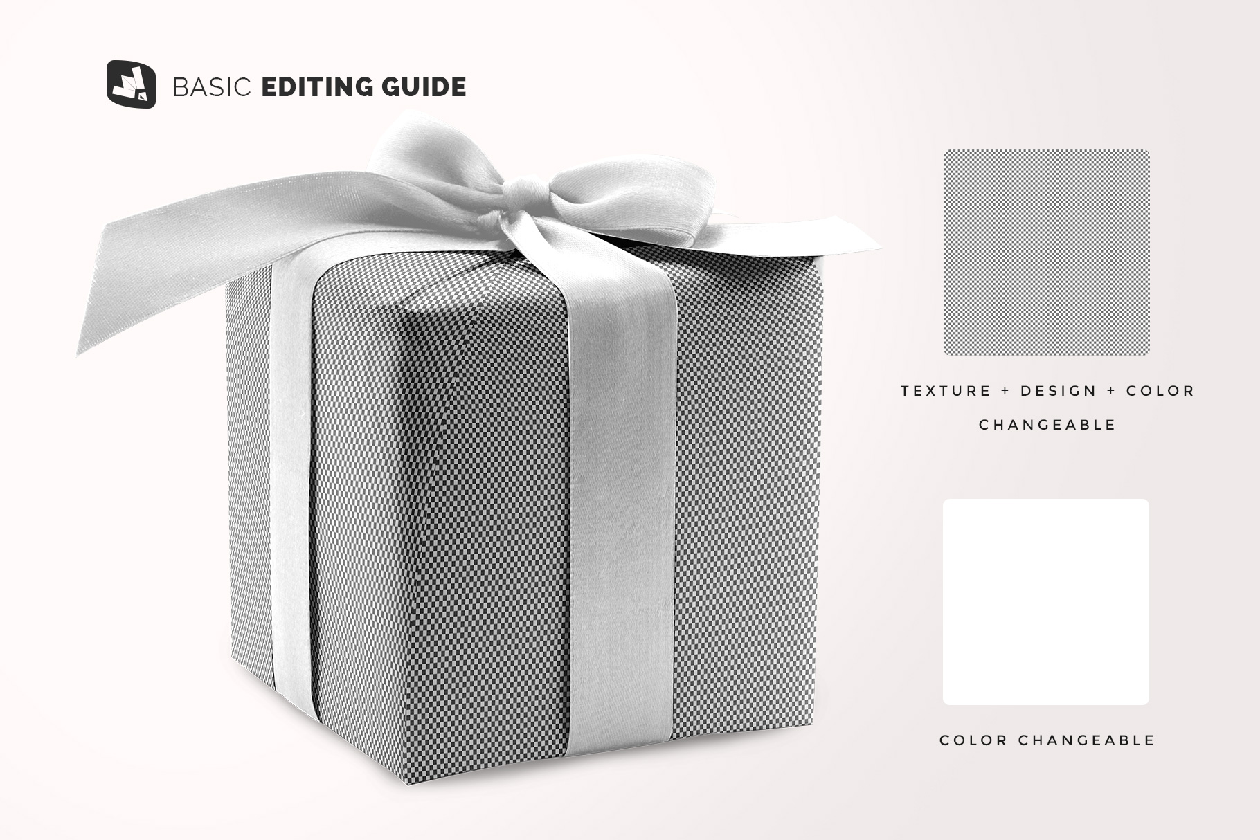 editability of the wrapping paper mockup with box