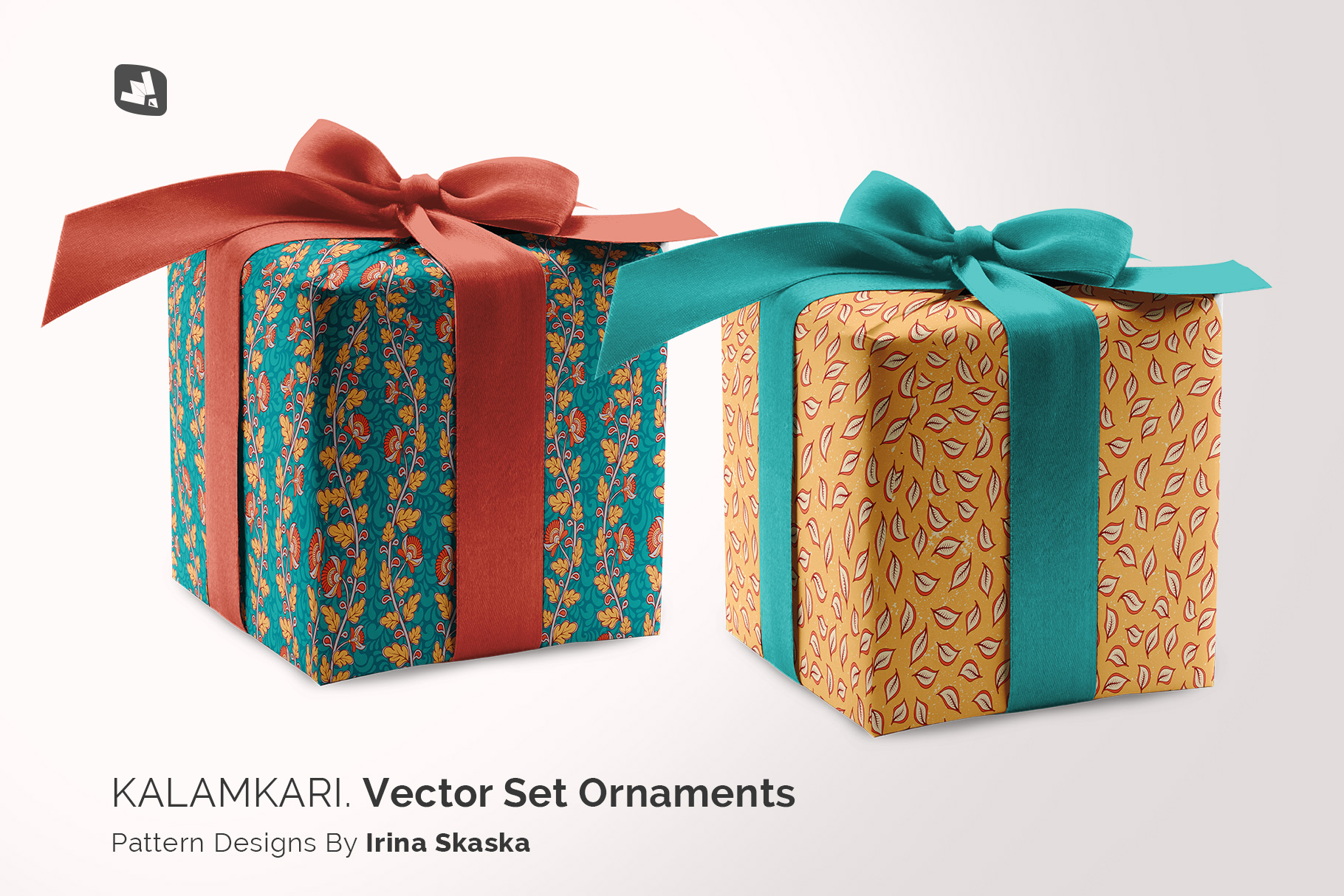 designer's credit of thewrapping paper mockup with box