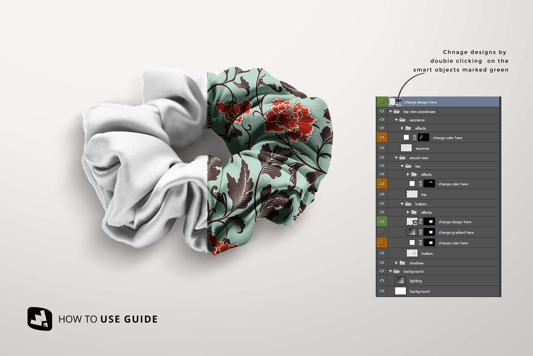 how to change design of the silk scrunchy mockup