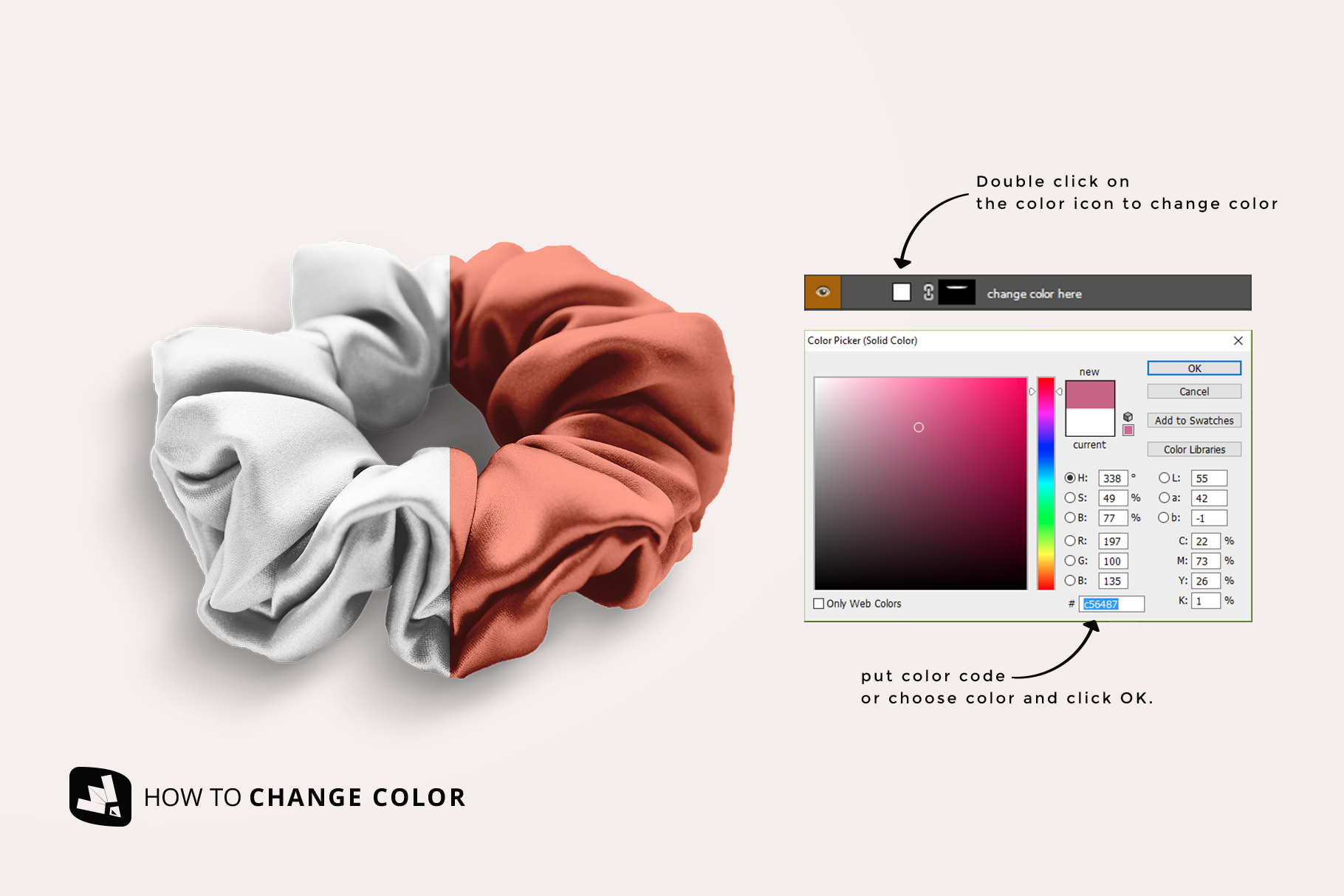 how to change color of the silk scrunchy mockup