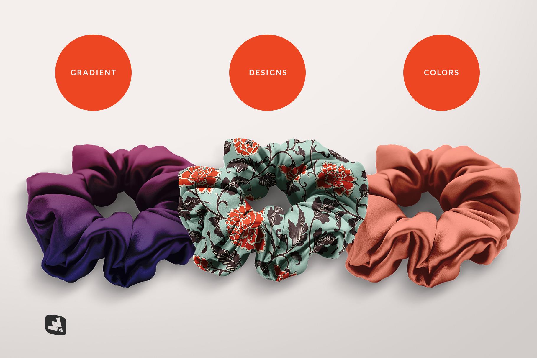 types of the silk scrunchy mockup