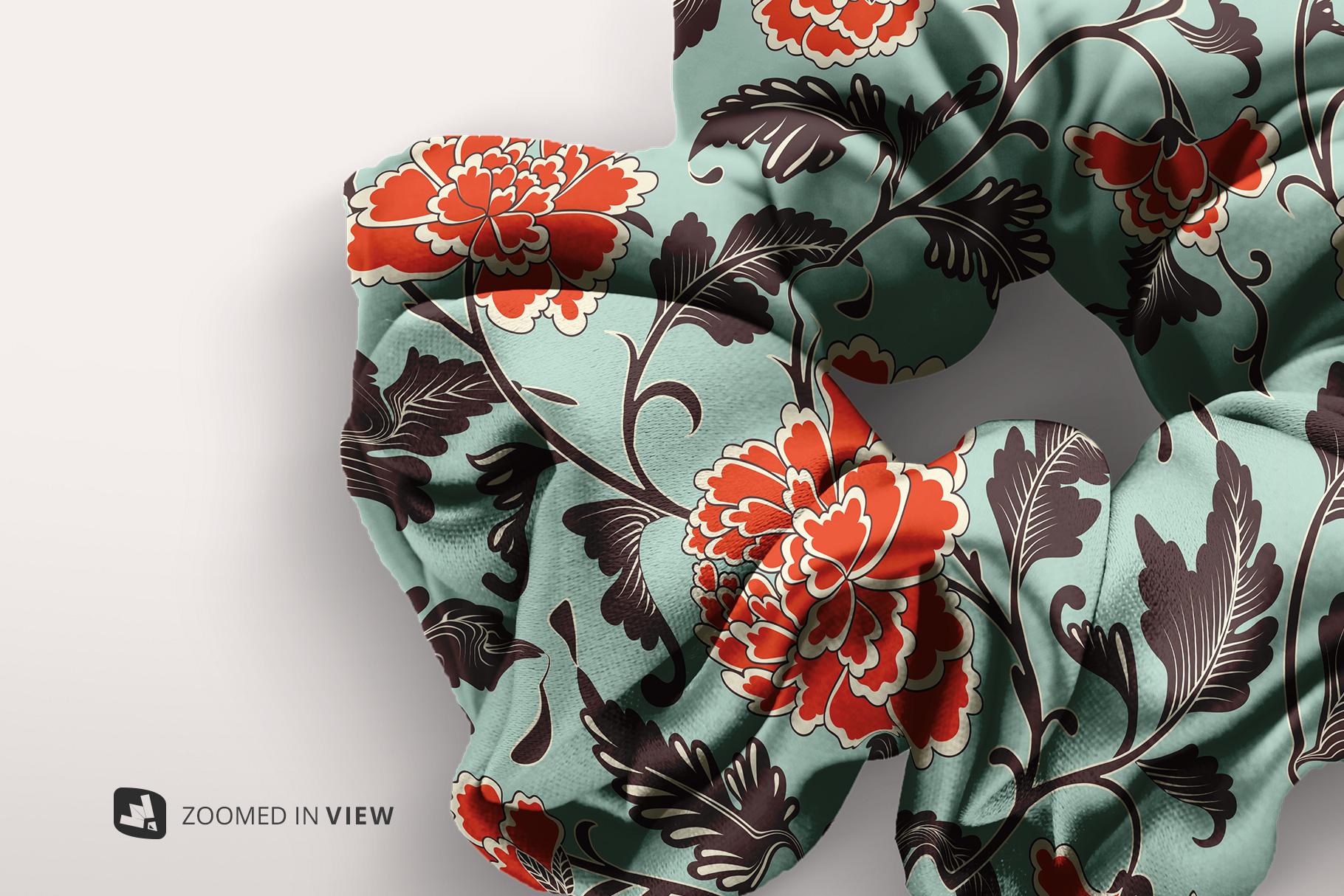 zoomed in image of the silk scrunchy mockup