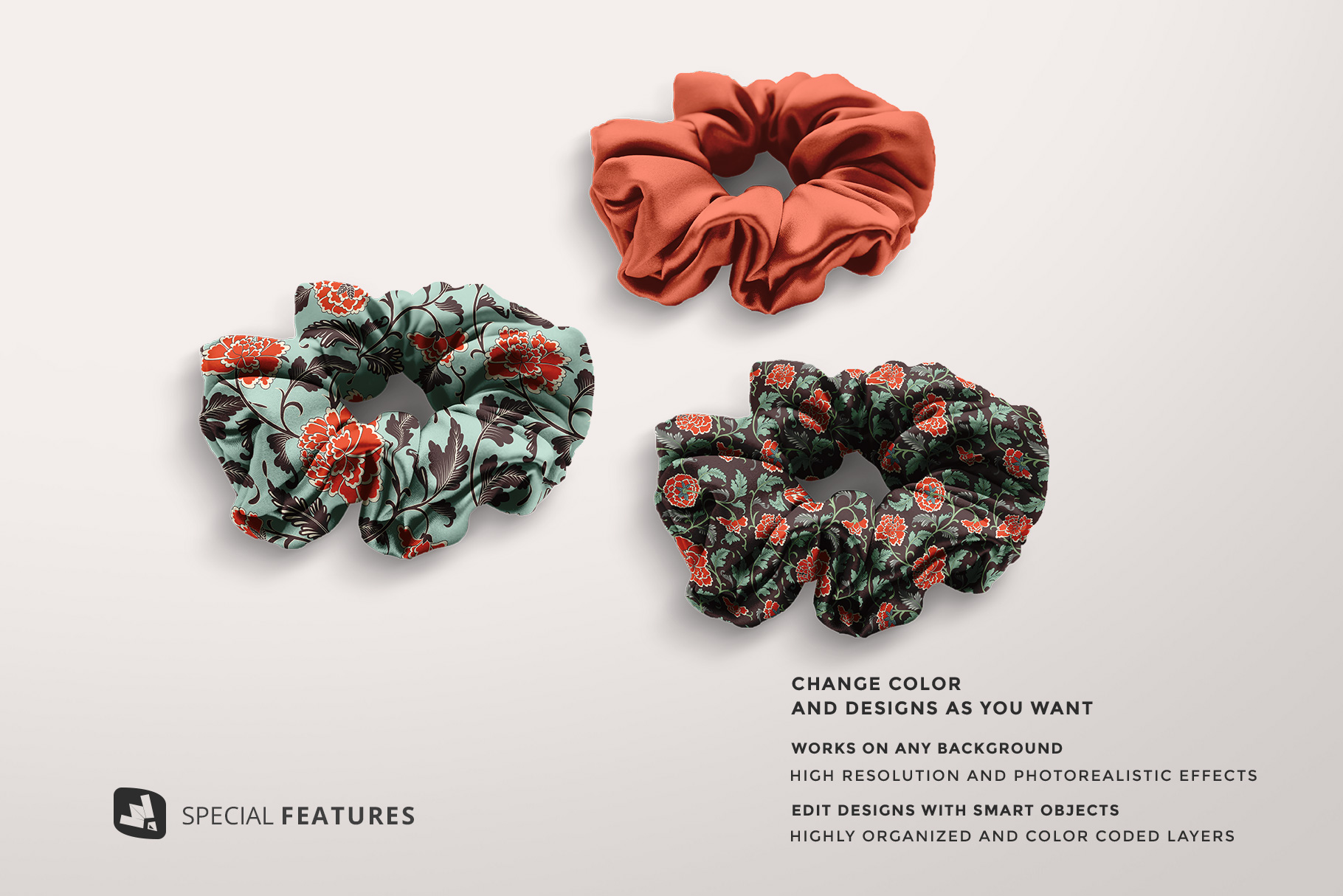 special features of the silk scrunchy mockup
