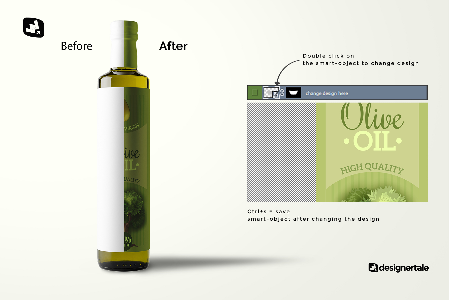how to change design of the cooking oil bottle packaging mockup