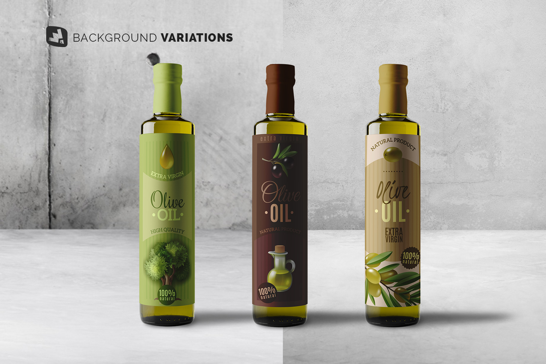 background options of the cooking oil bottle packaging mockup