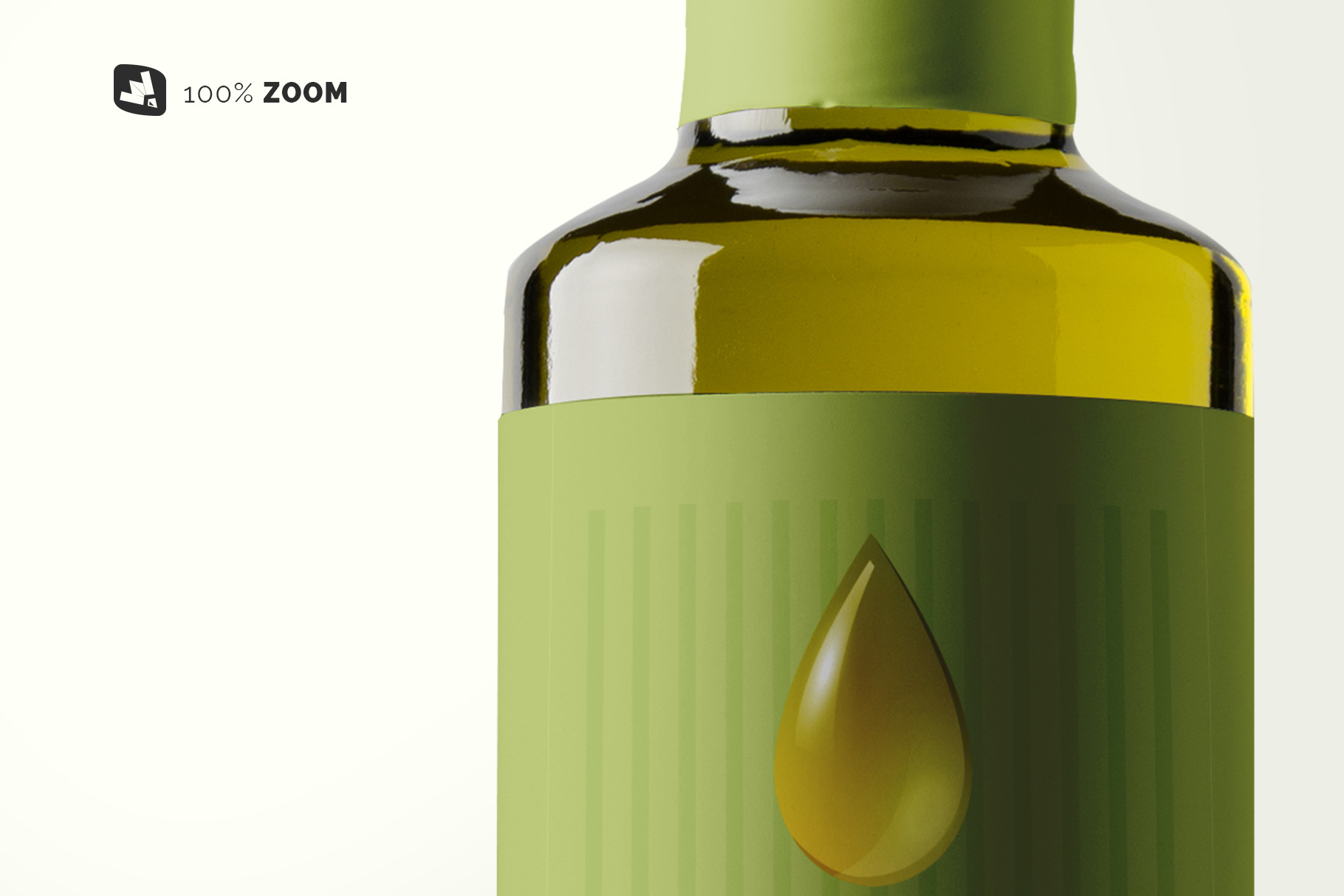 zoomed in image of the cooking oil bottle packaging mockup