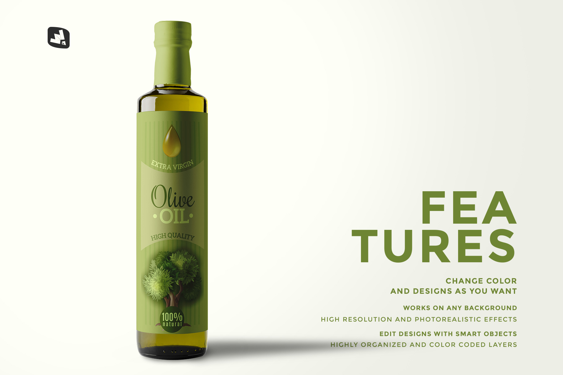 features of the cooking oil bottle packaging mockup