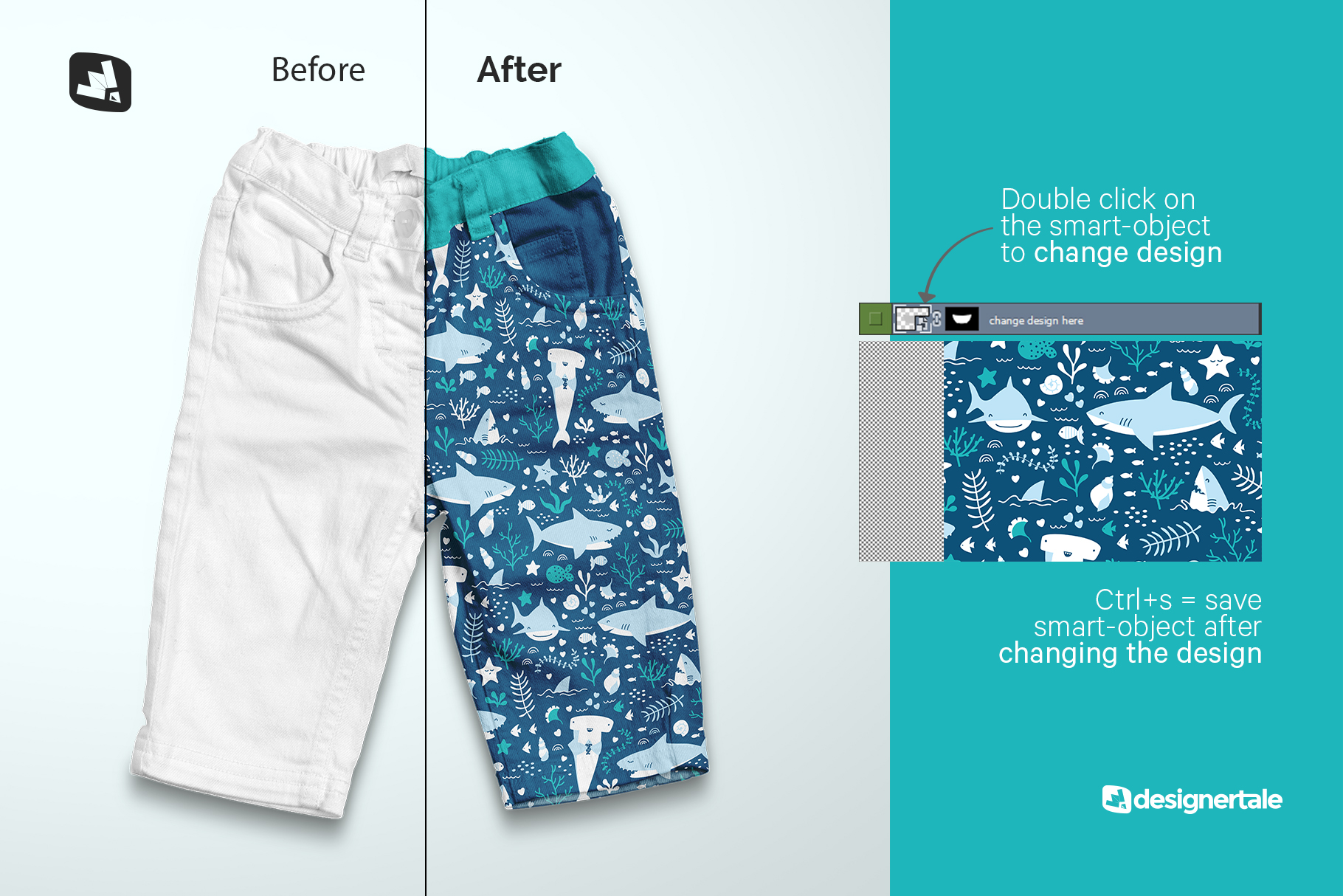 how to change design of the top view kid's jeans mockup