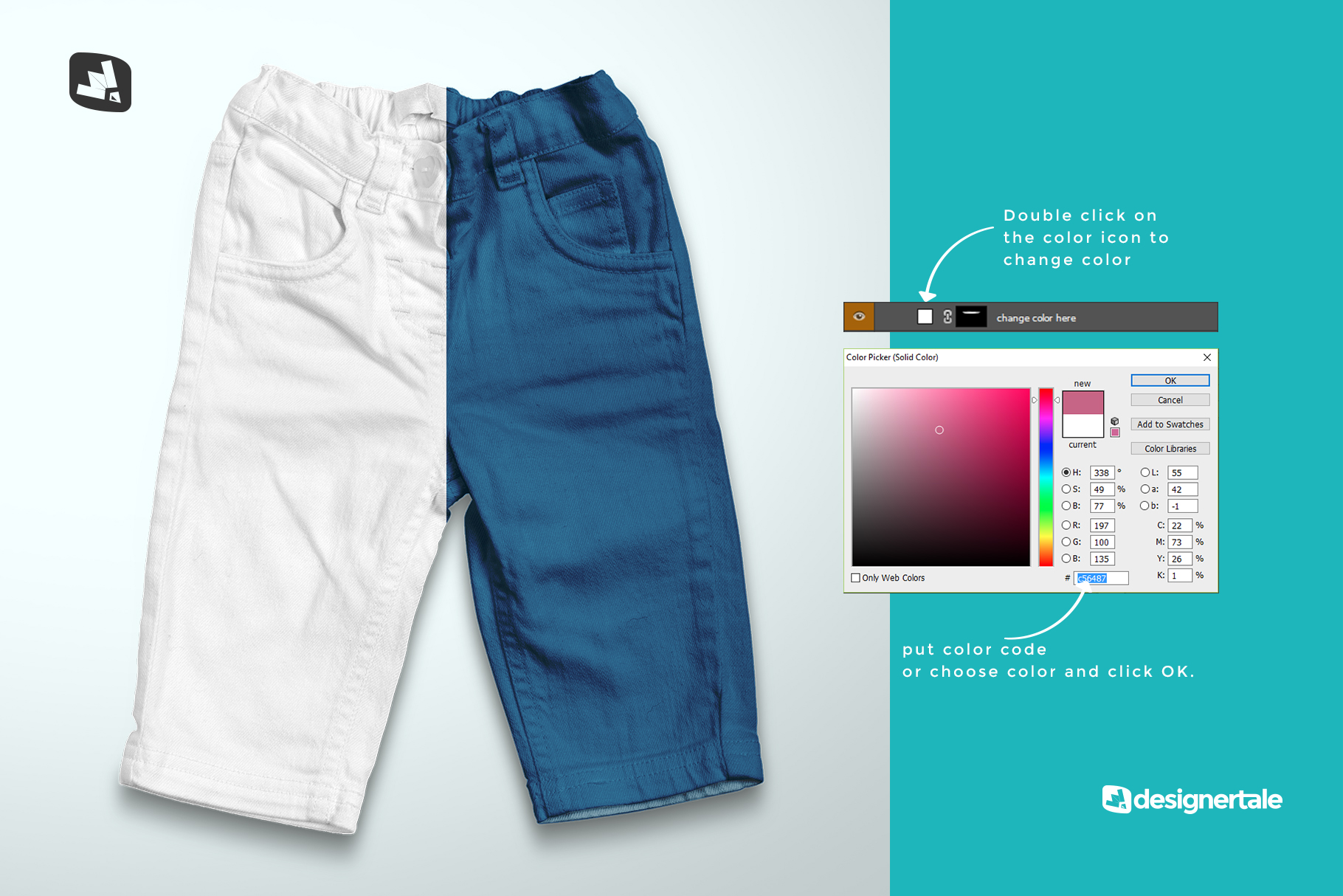 how to change color of the top view kid's jeans mockup