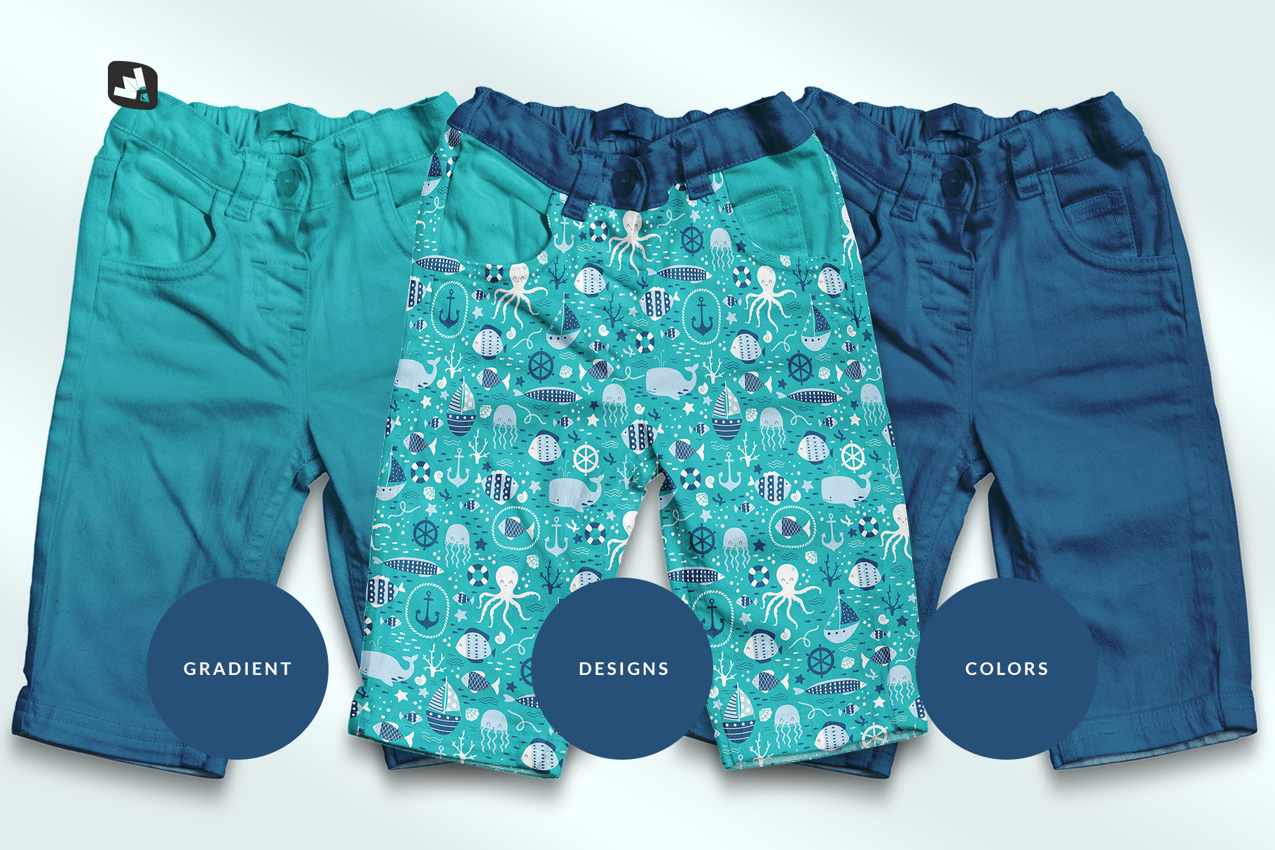 types of the top view kid's jeans mockup