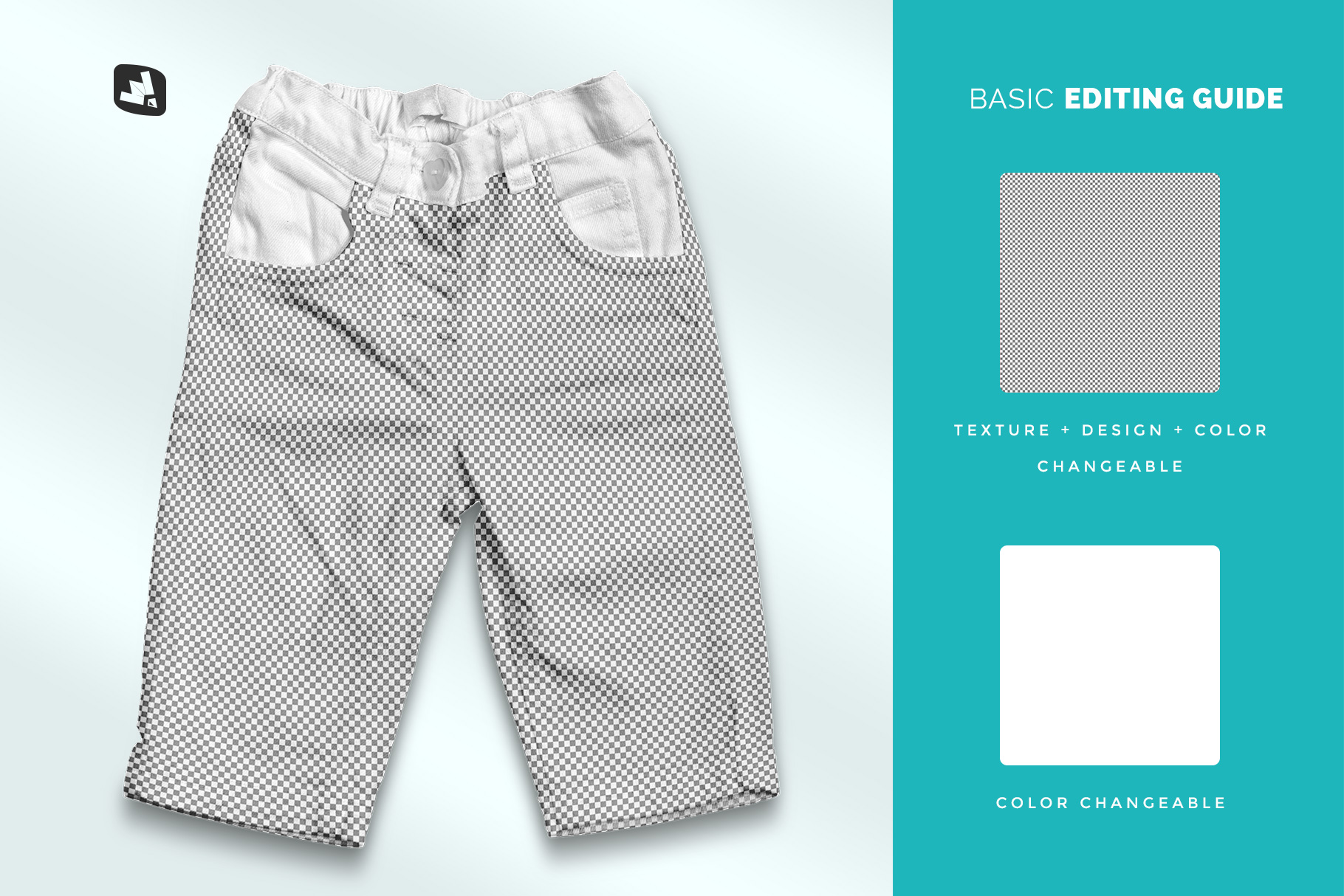 editability of the top view kid's jeans mockup