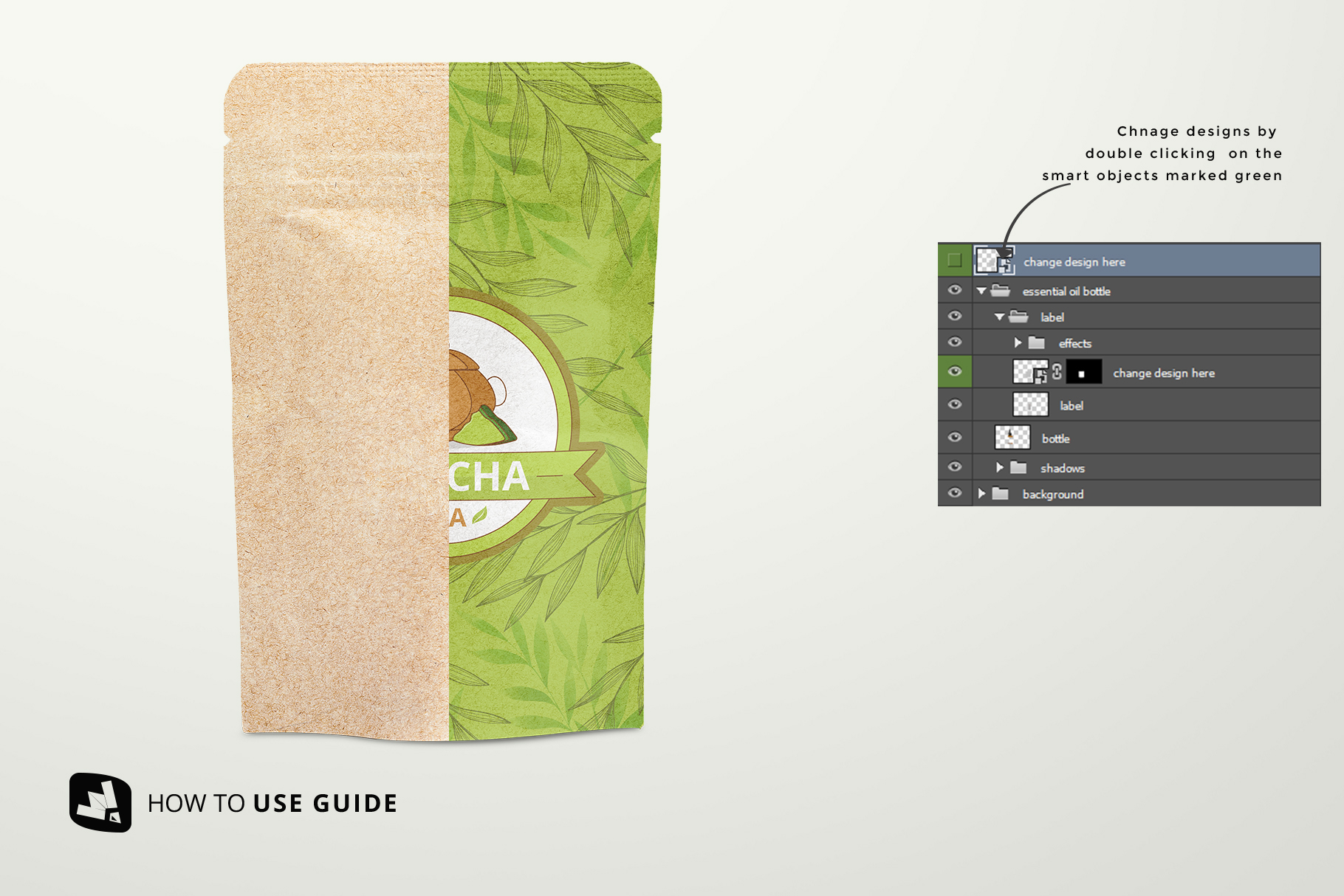 how to change design of the craft paper pouch packaging mockup