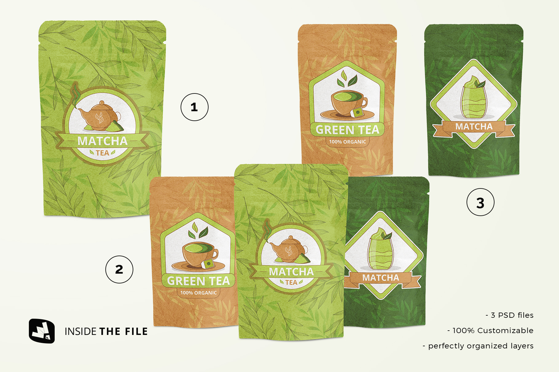 files included in the craft paper pouch packaging mockup