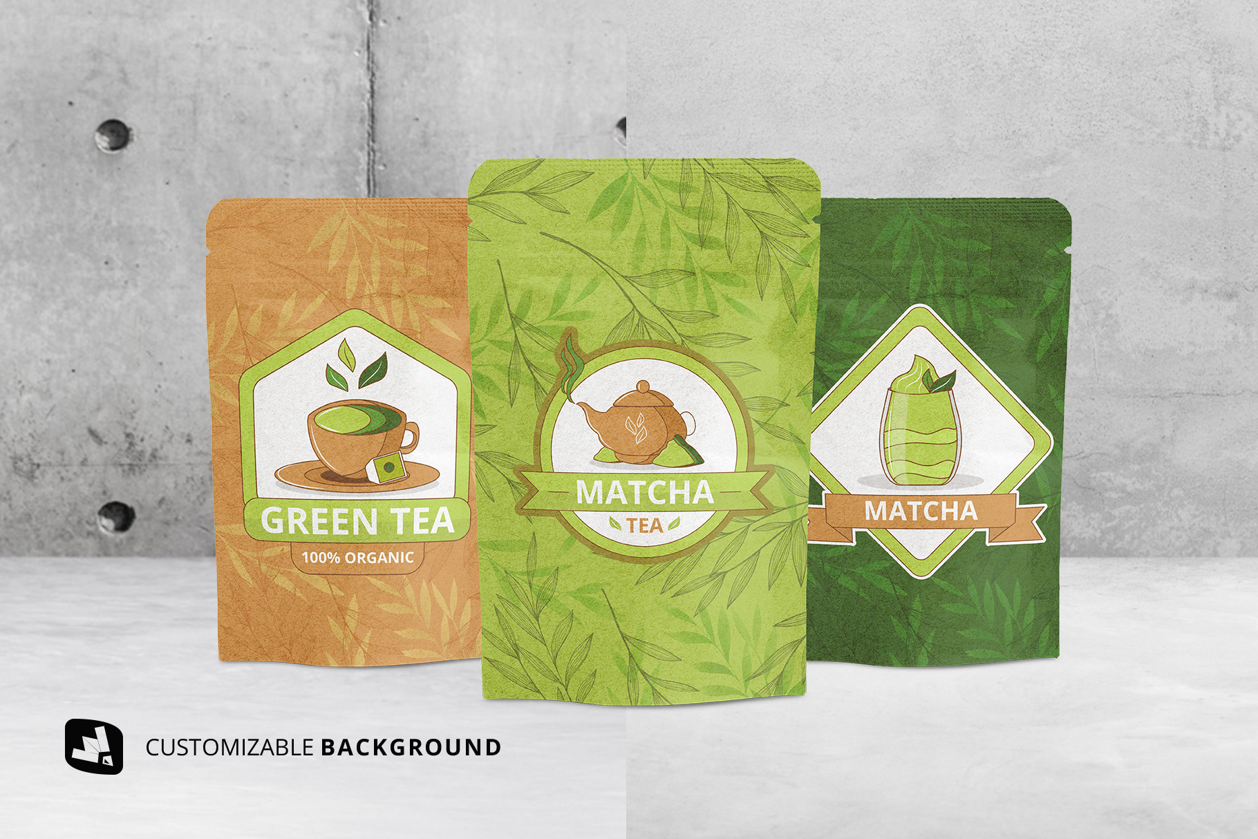 background options of the craft paper pouch packaging mockup
