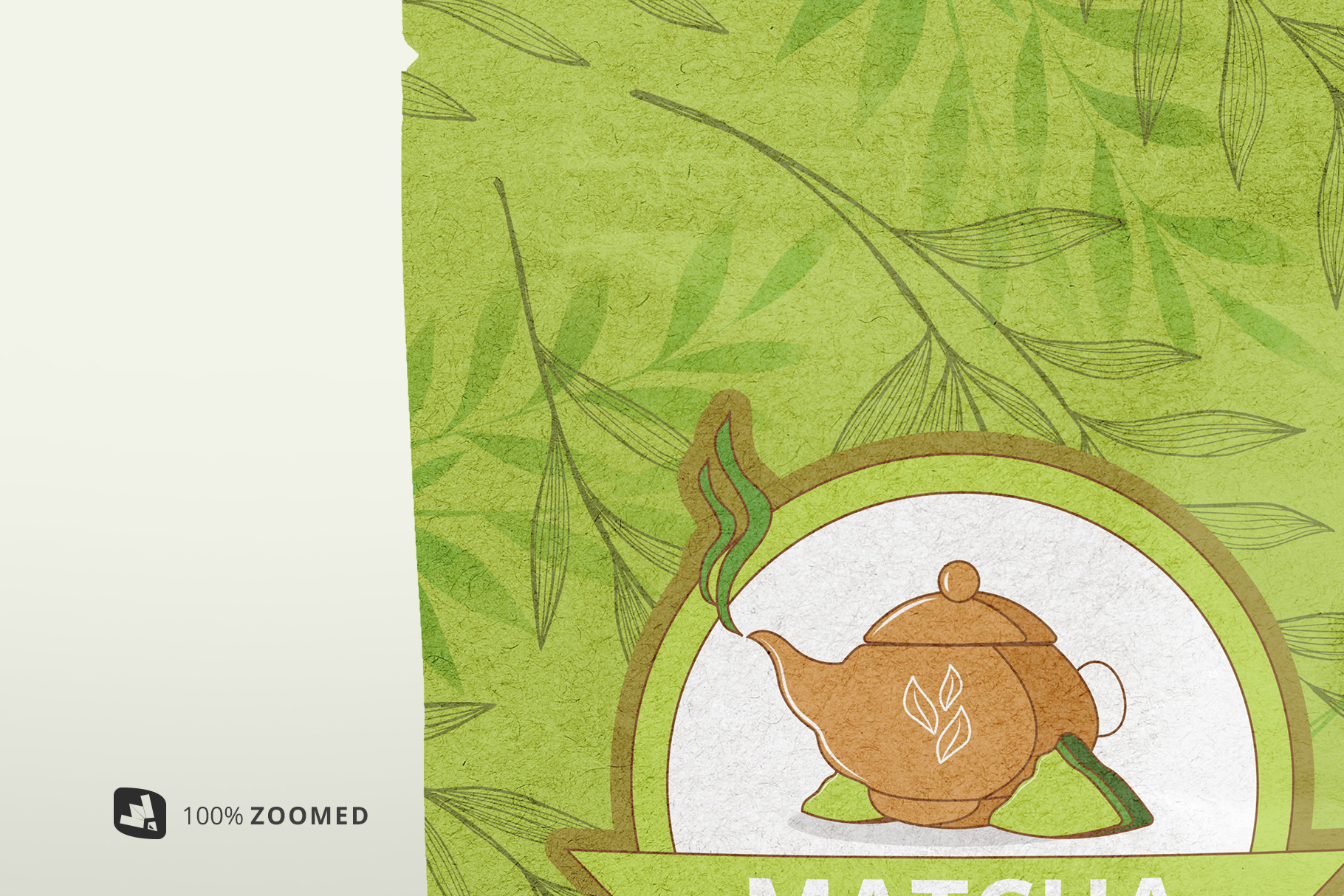 zoomed in image of the craft paper pouch packaging mockup