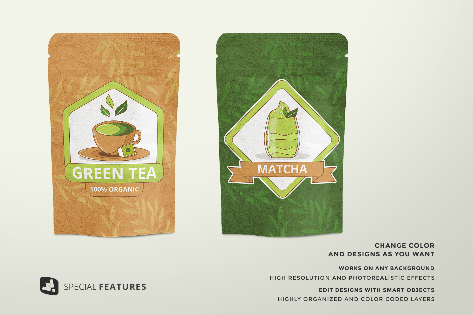 spacial features of the craft paper pouch packaging mockup