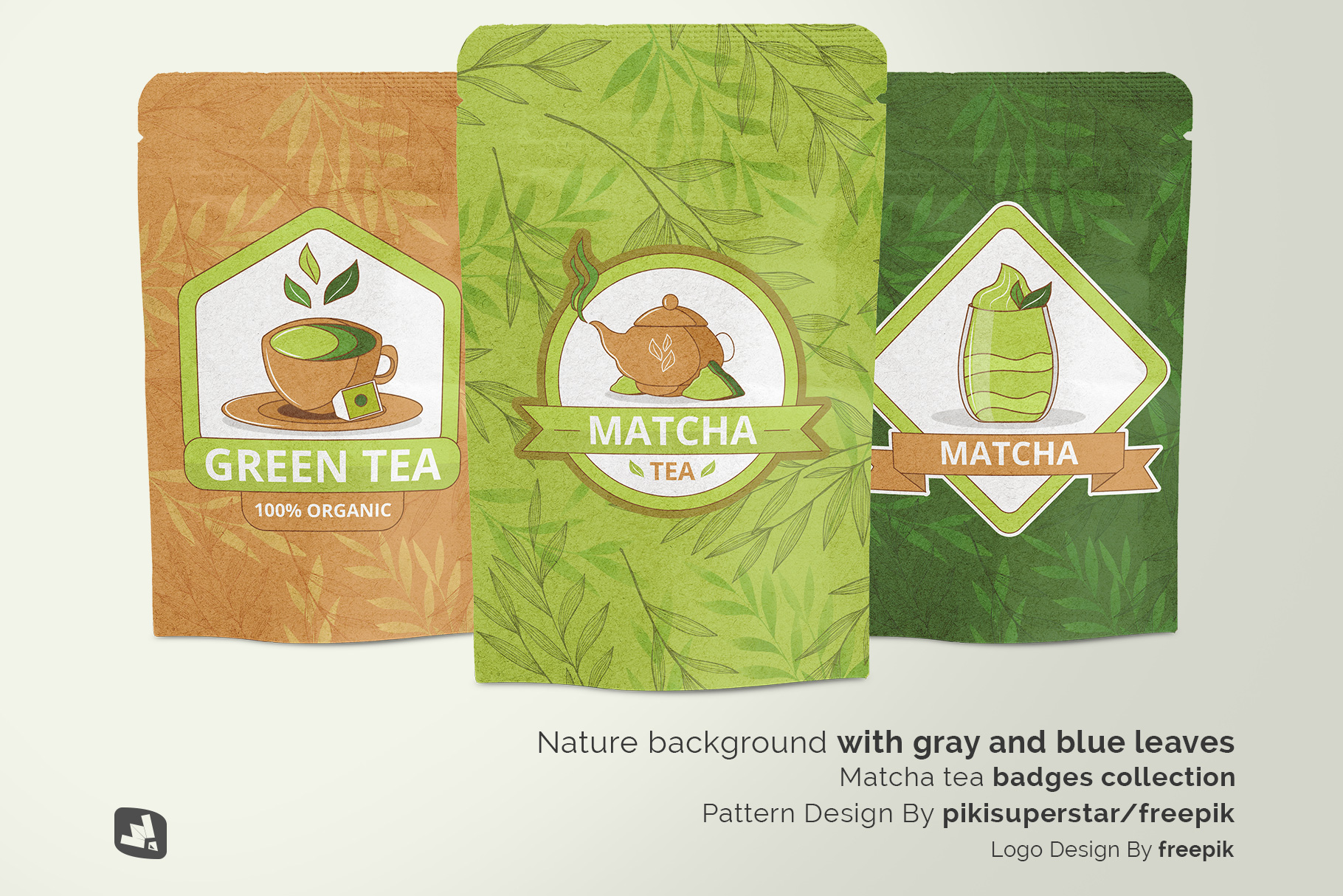 designer's credit of the craft paper pouch packaging mockup