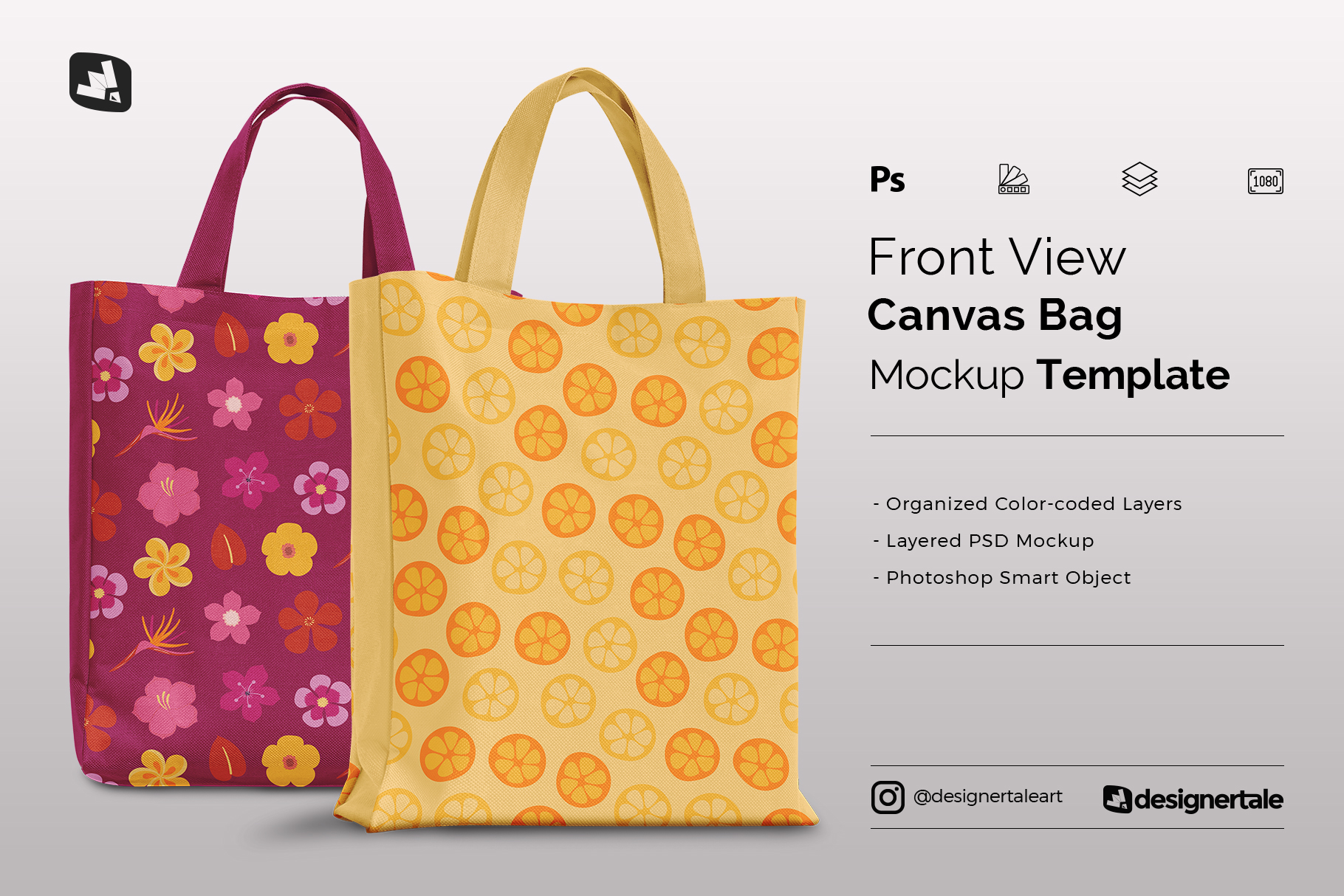front view canvas bag mockup