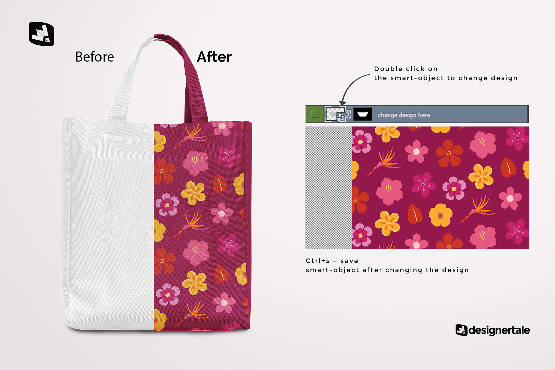 how to change design of the front view canvas bag mockup