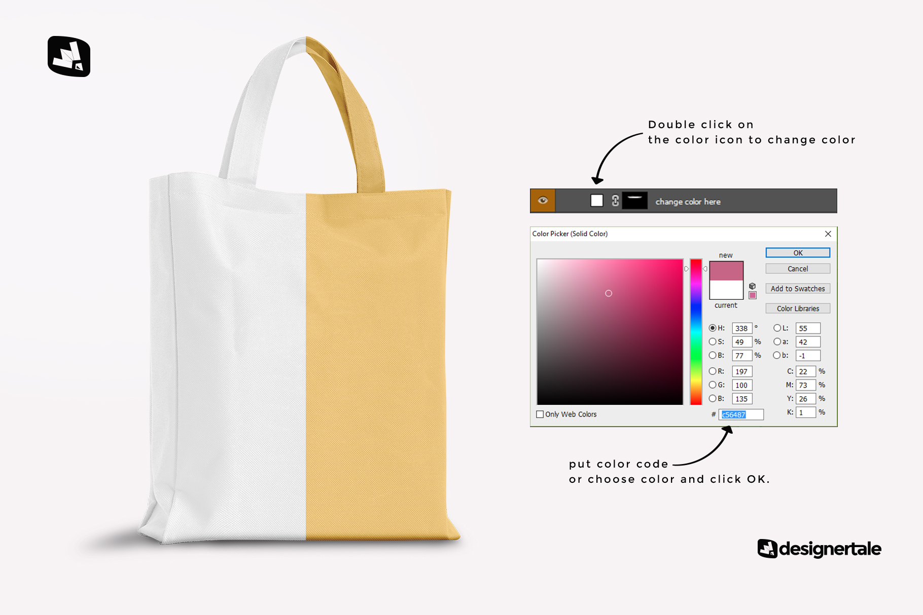 how to change color of the front view canvas bag mockup