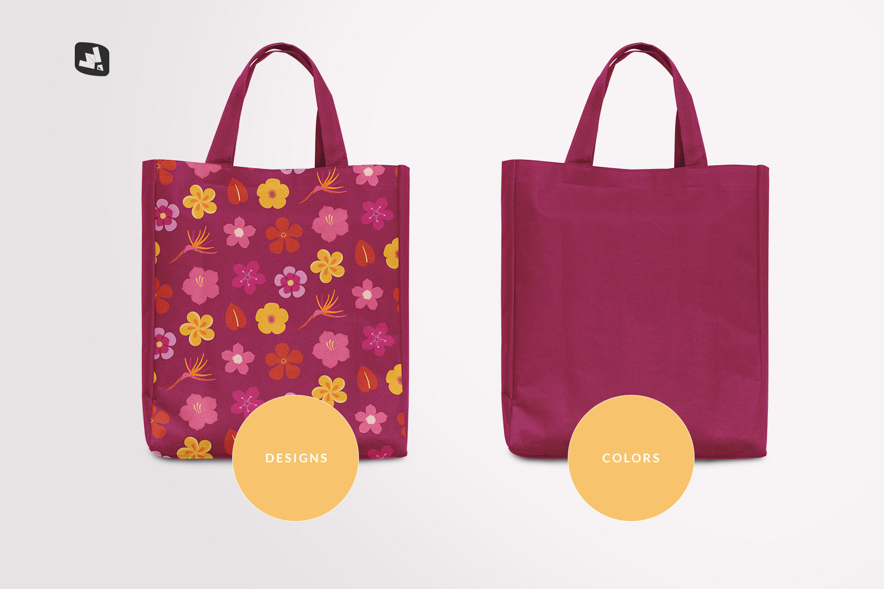 types of the front view canvas bag mockup