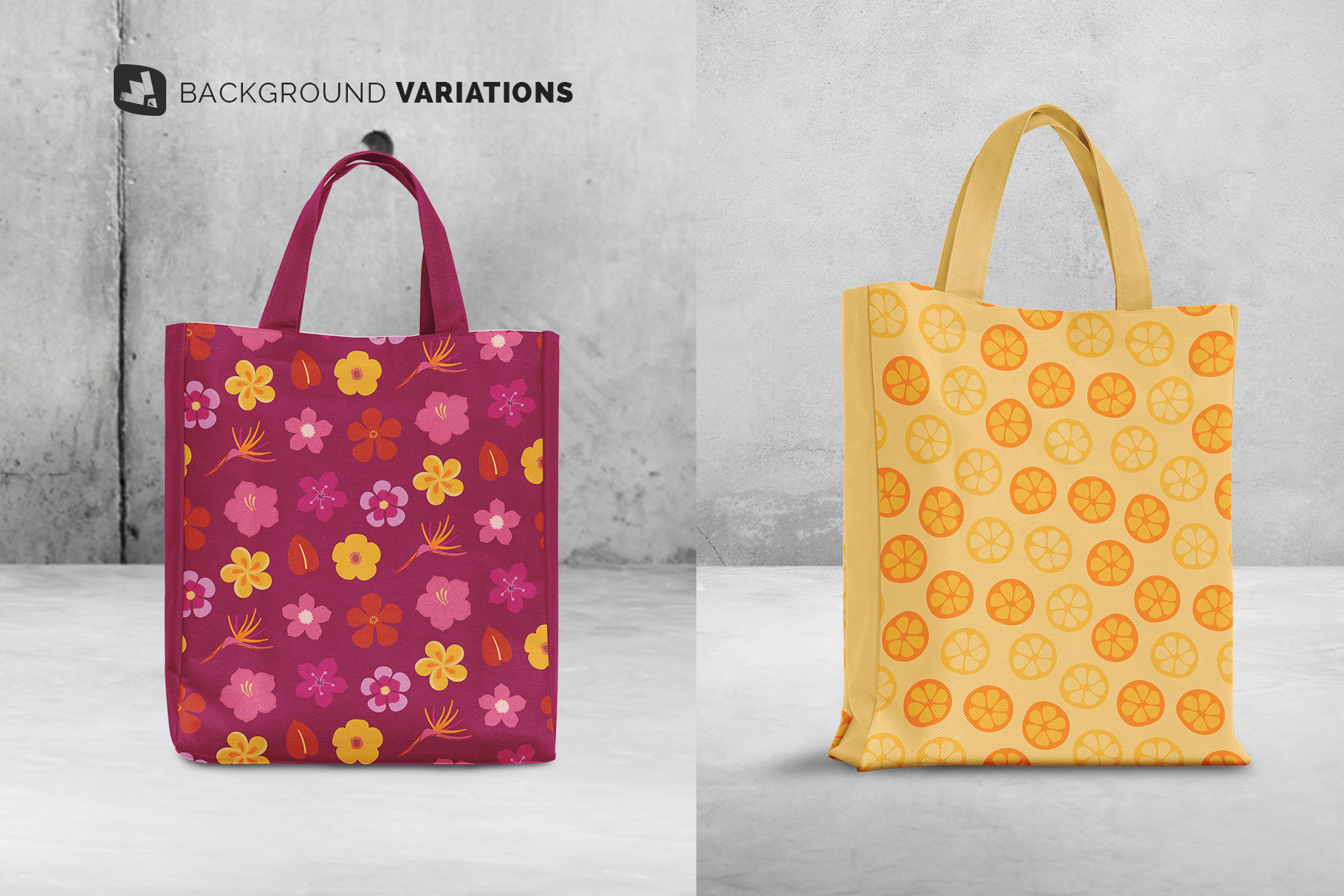 background options of the front view canvas bag mockup