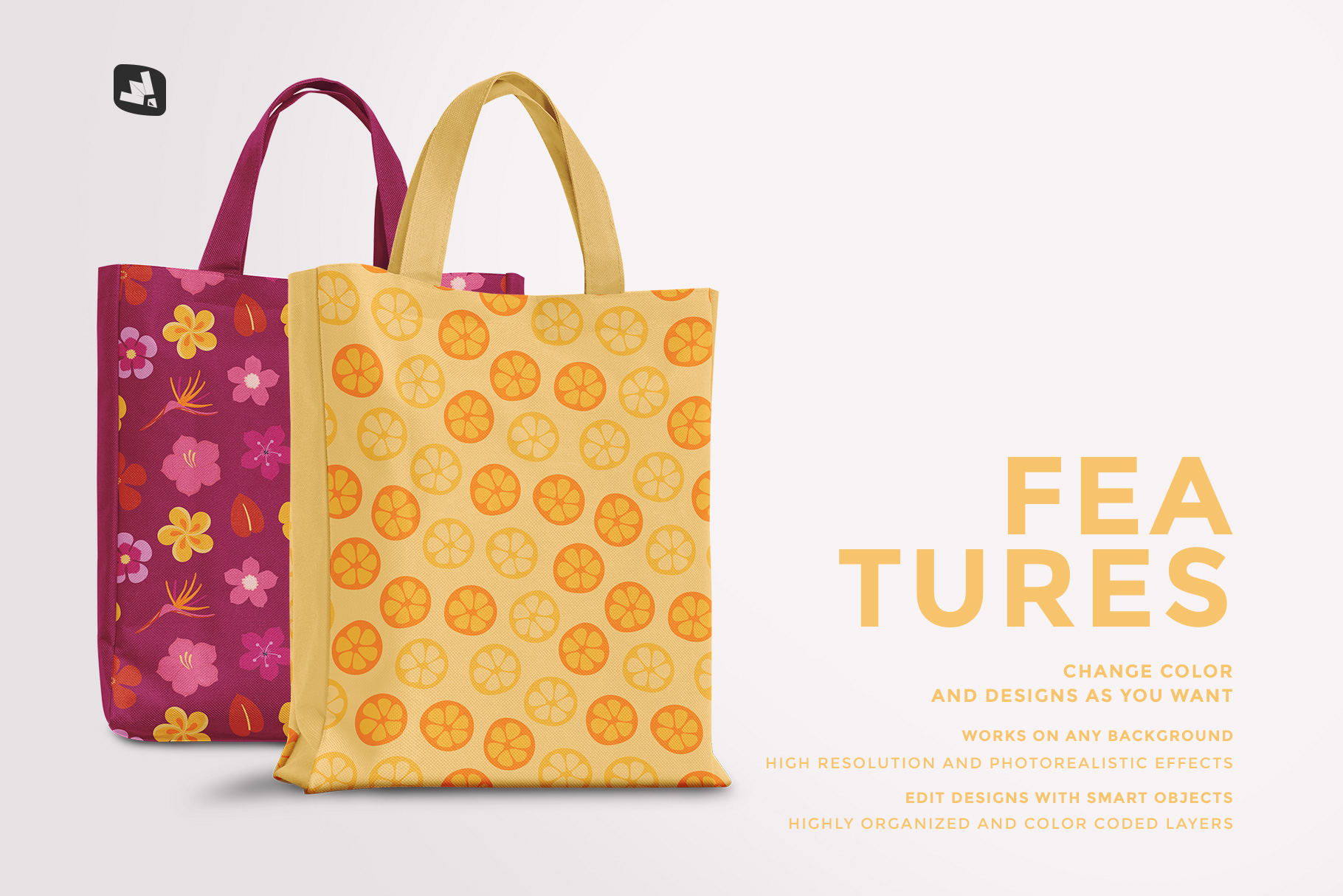 features of the front view canvas bag mockup