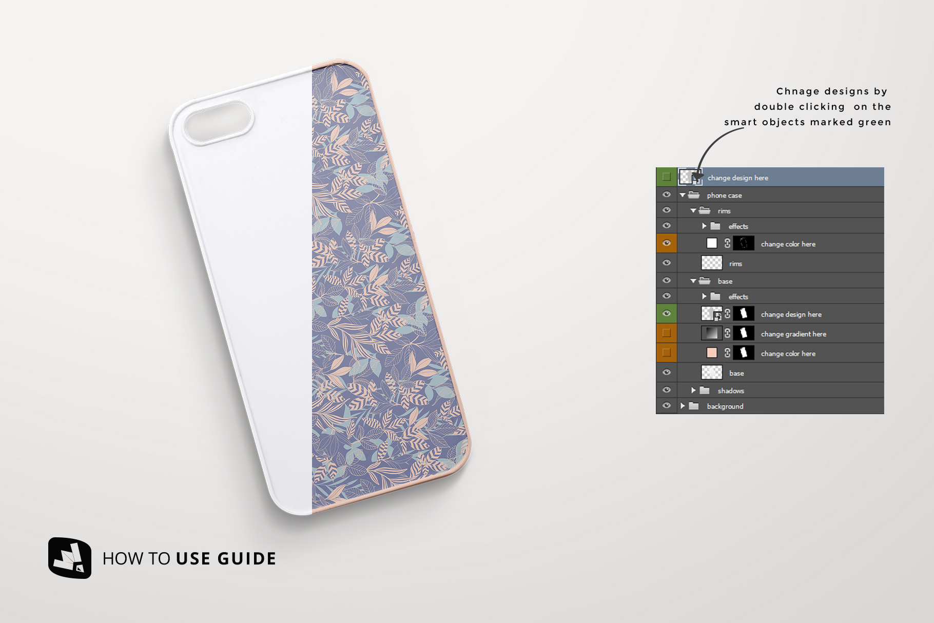 how to change design of the top view phone case mockup