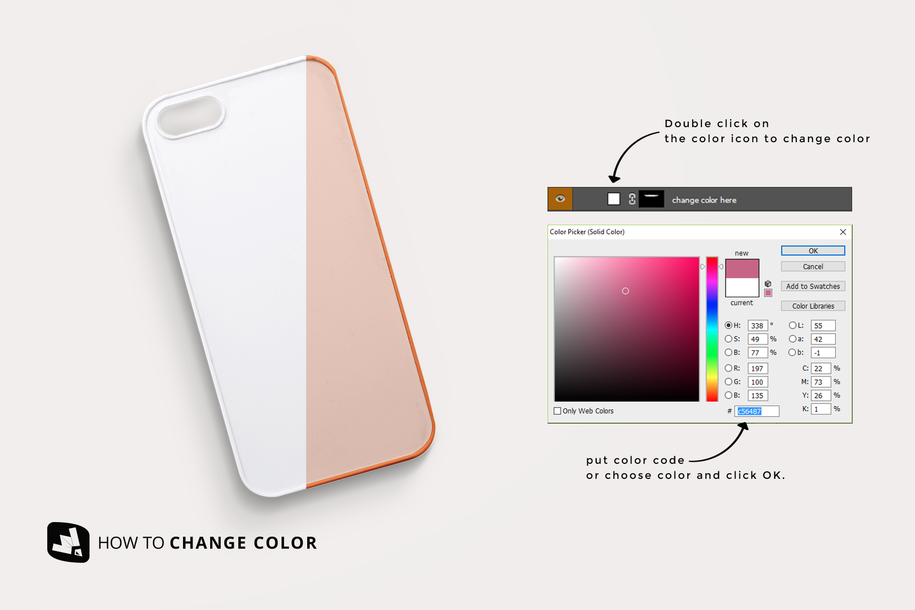 how to change color of the top view phone case mockup