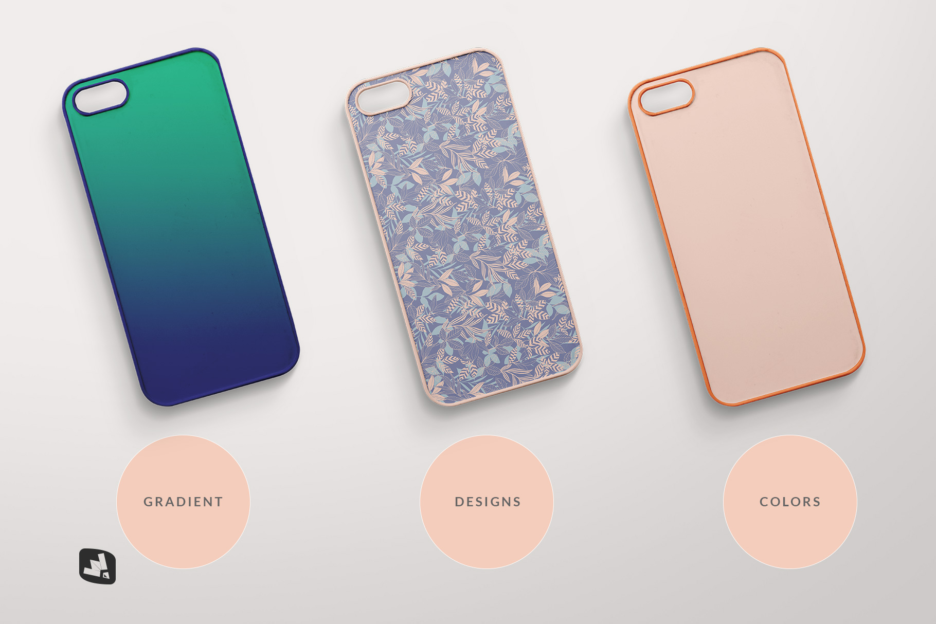 types of the top view phone case mockup