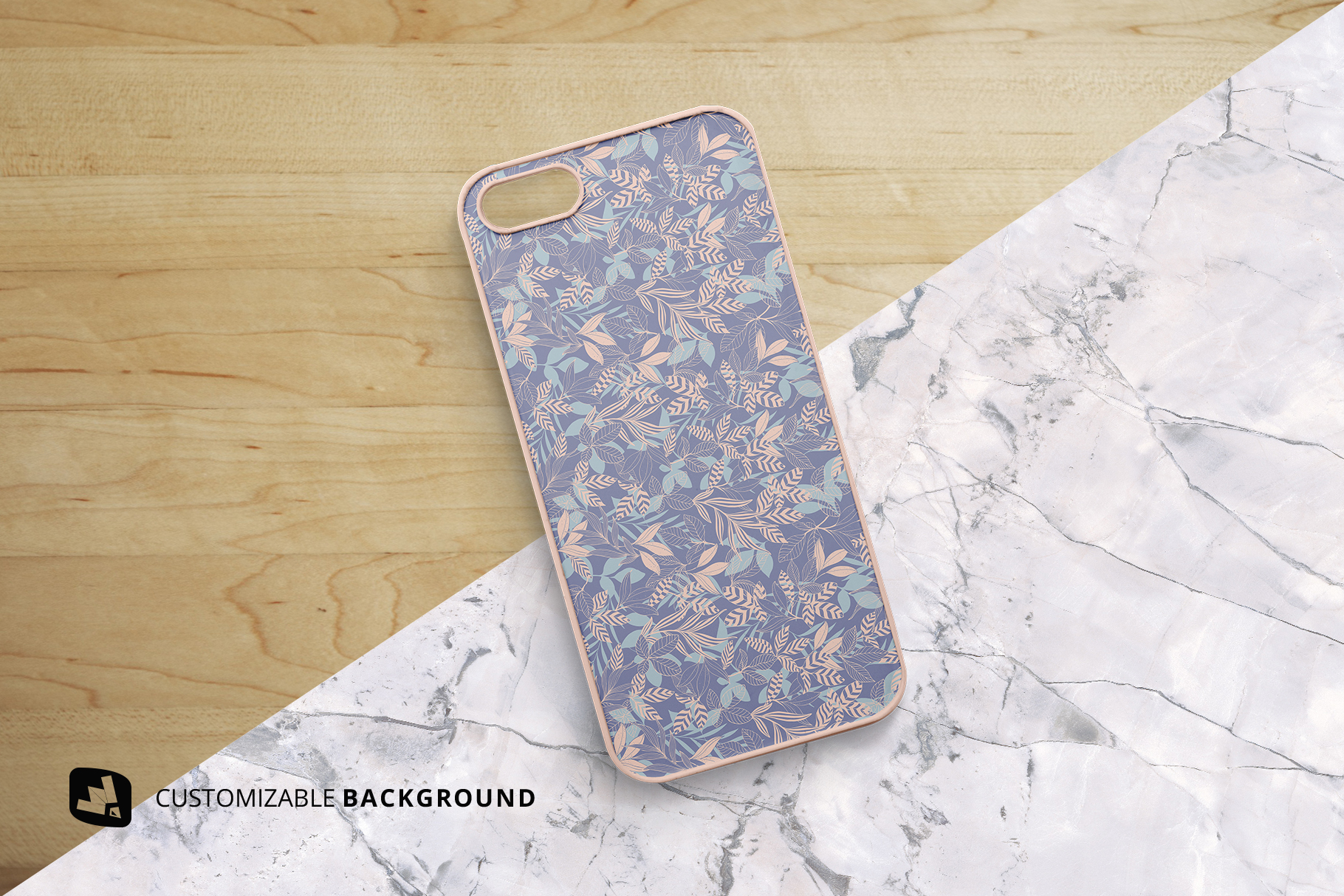 background options of the top view phone case mockup